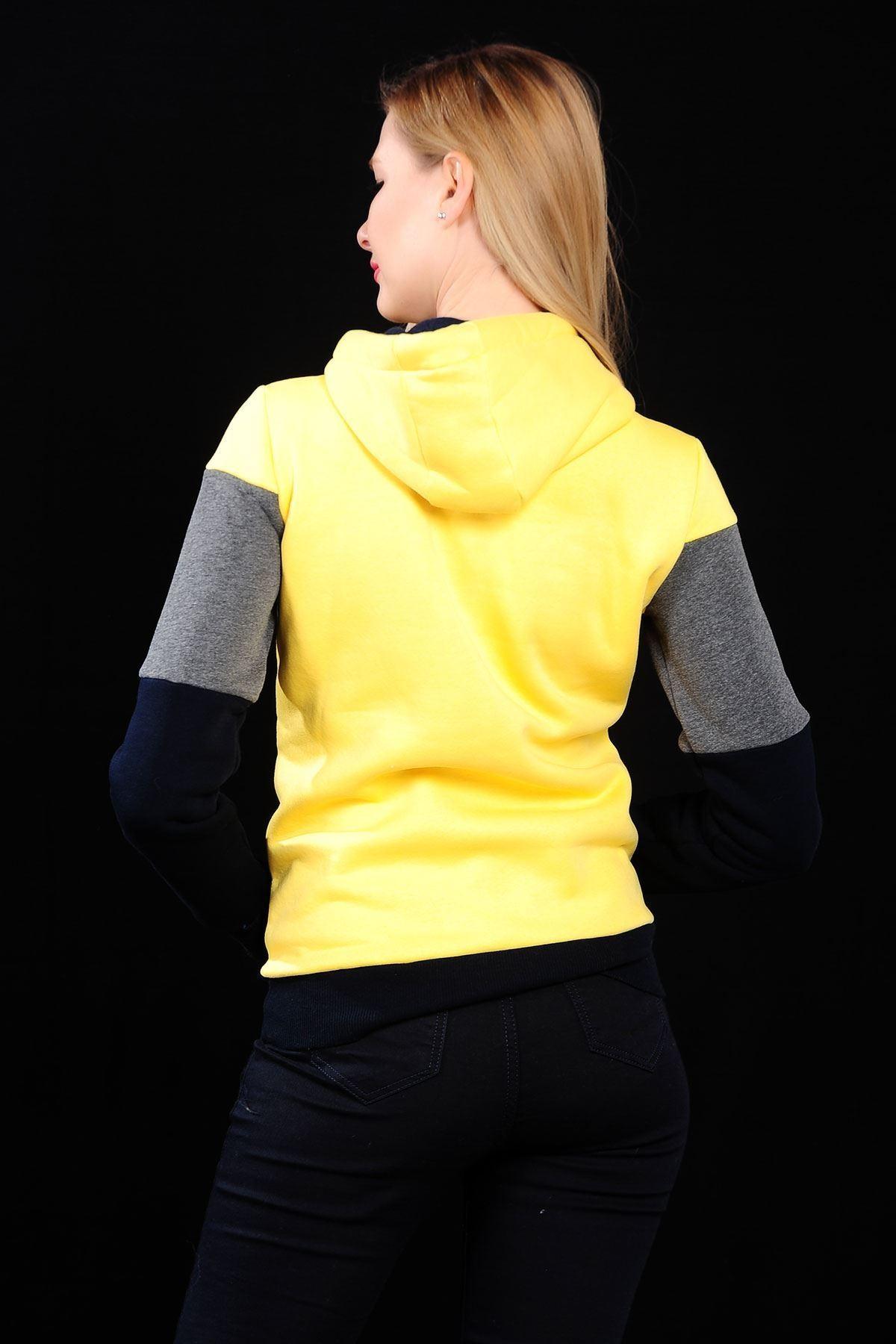3 Renk Sarı Sweat Bayan