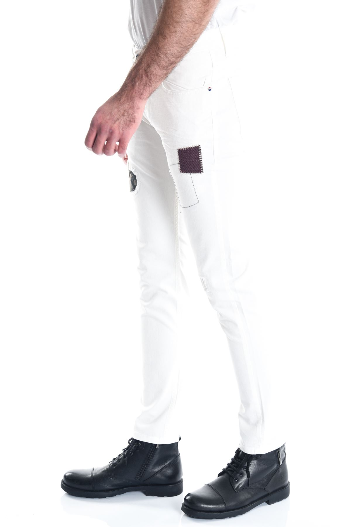 Beyaz Kamuflaj Detay Slimfit Erkek Pantolon