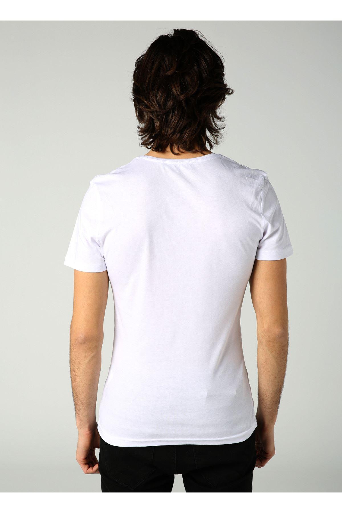 Bisiklet Yaka Baskılı Erkek Beyaz T-Shirt
