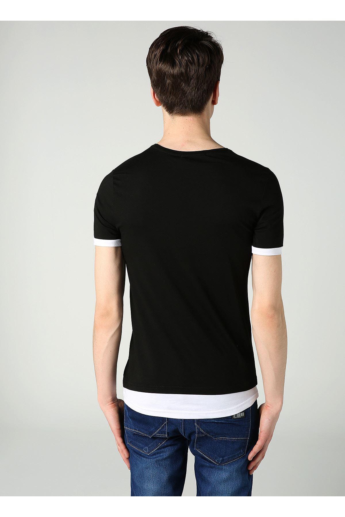 Bisiklet Yaka Kuru Kafa Baskılı Erkek Siyah T-Shirt