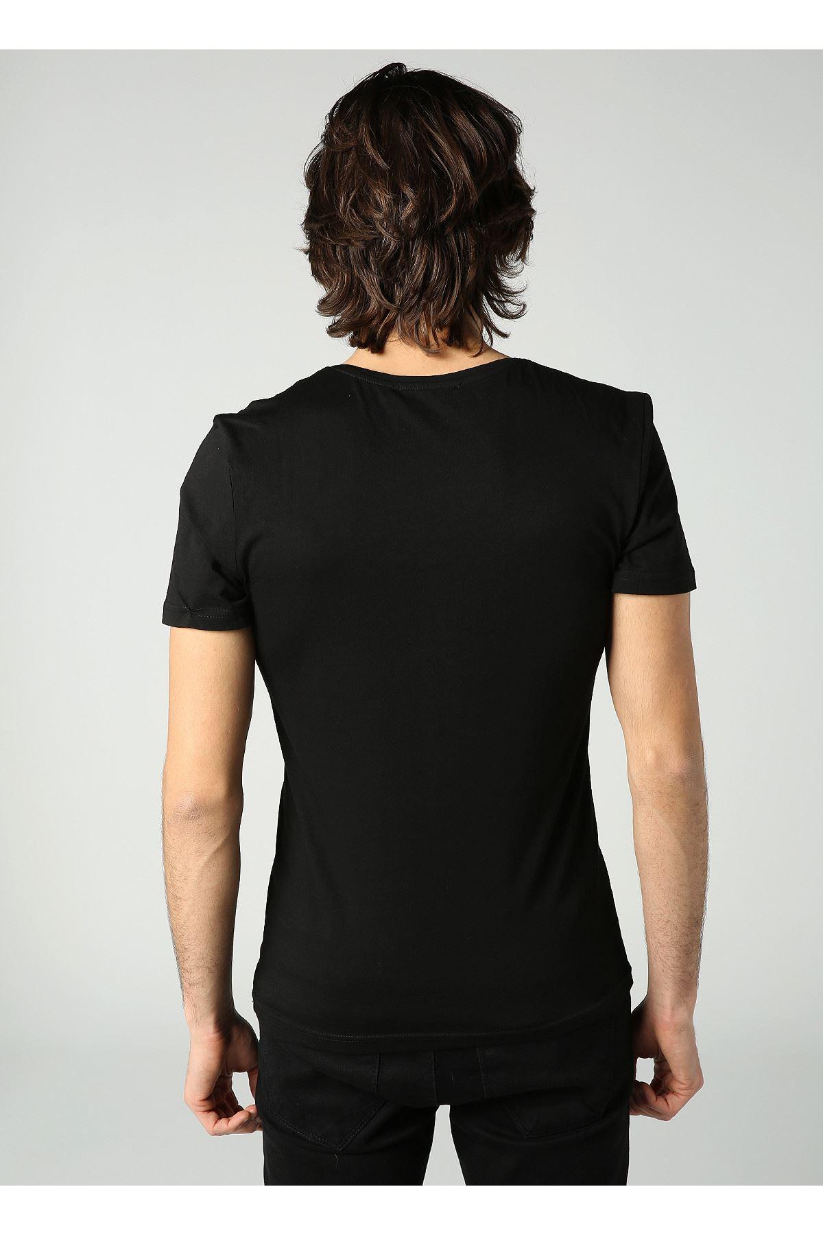 Bisiklet Yaka Baskılı Erkek Siyah T-Shirt