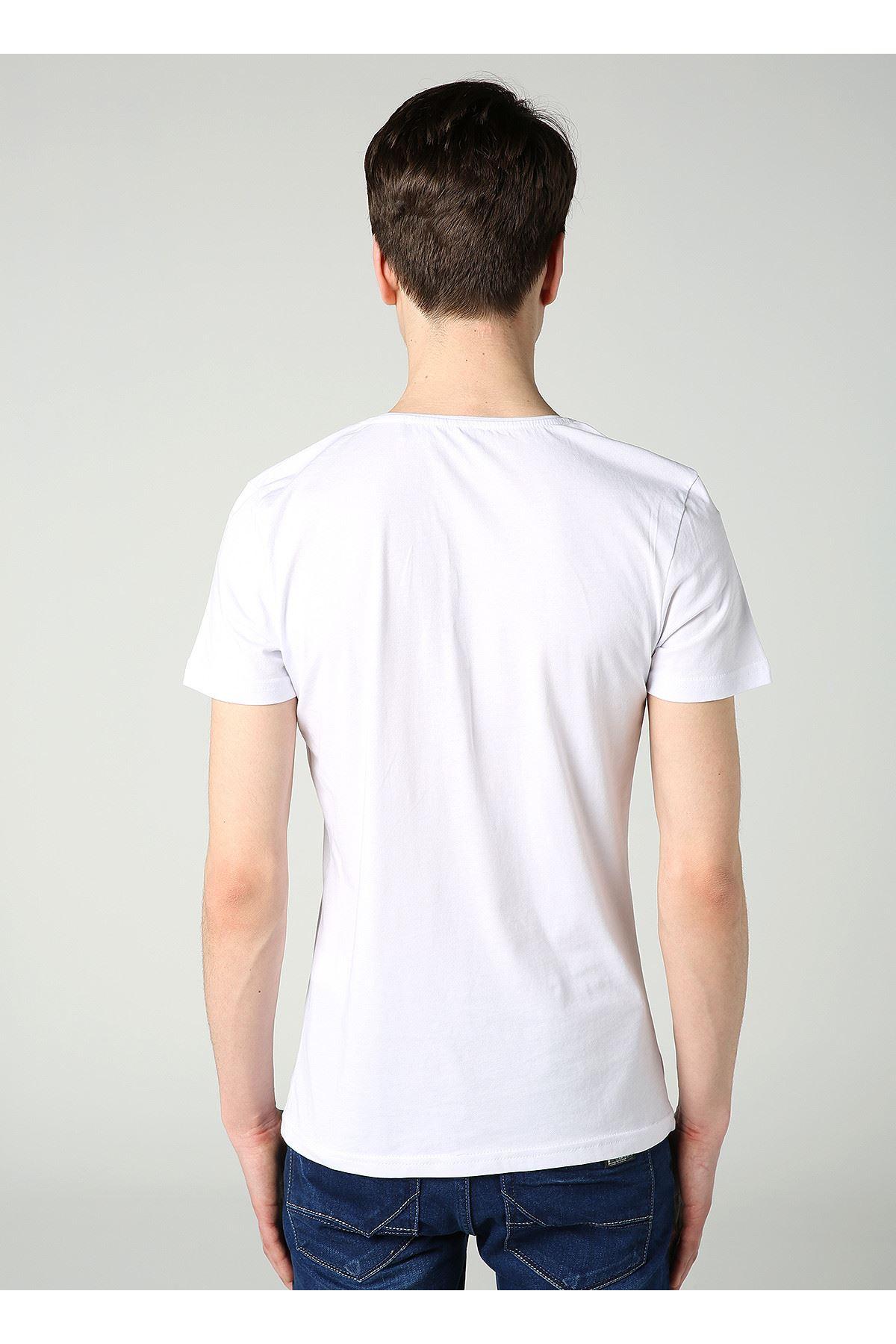 Bisiklet Yaka Power Baskılı Erkek Beyaz T-Shirt