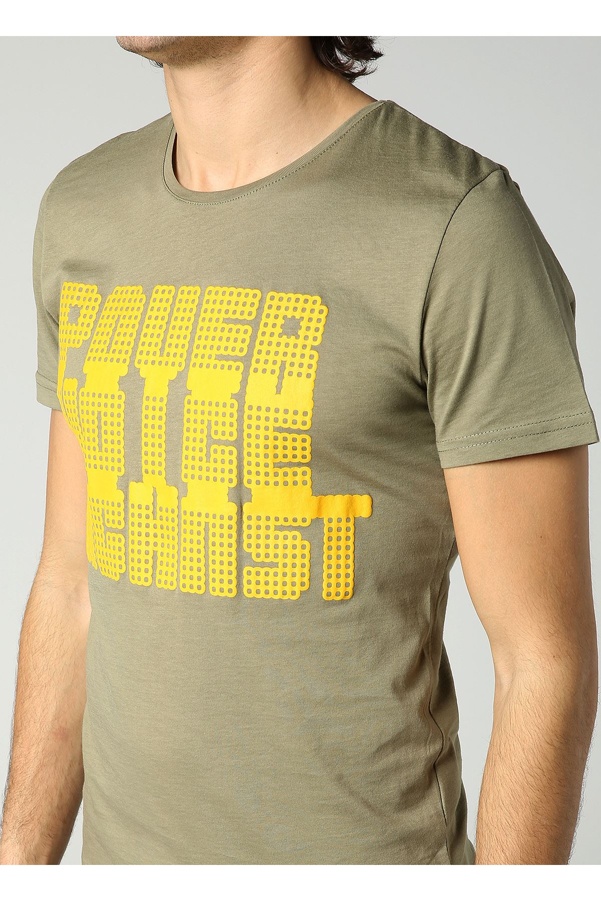 Bisiklet Yaka Power Baskılı Erkek Haki T-Shirt