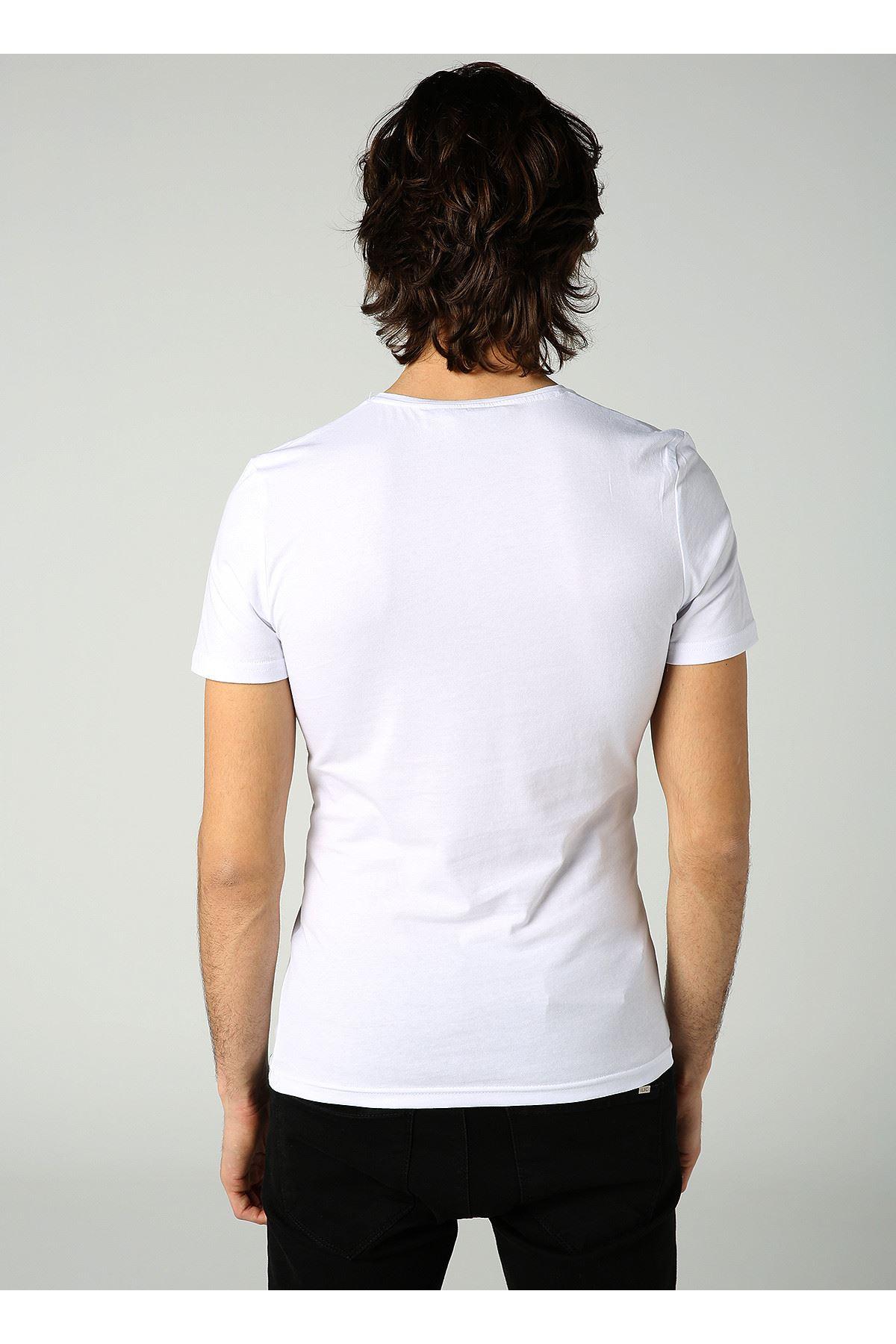 Bisiklet Yaka Parmak İzi Baskılı Erkek Beyaz T-Shirt
