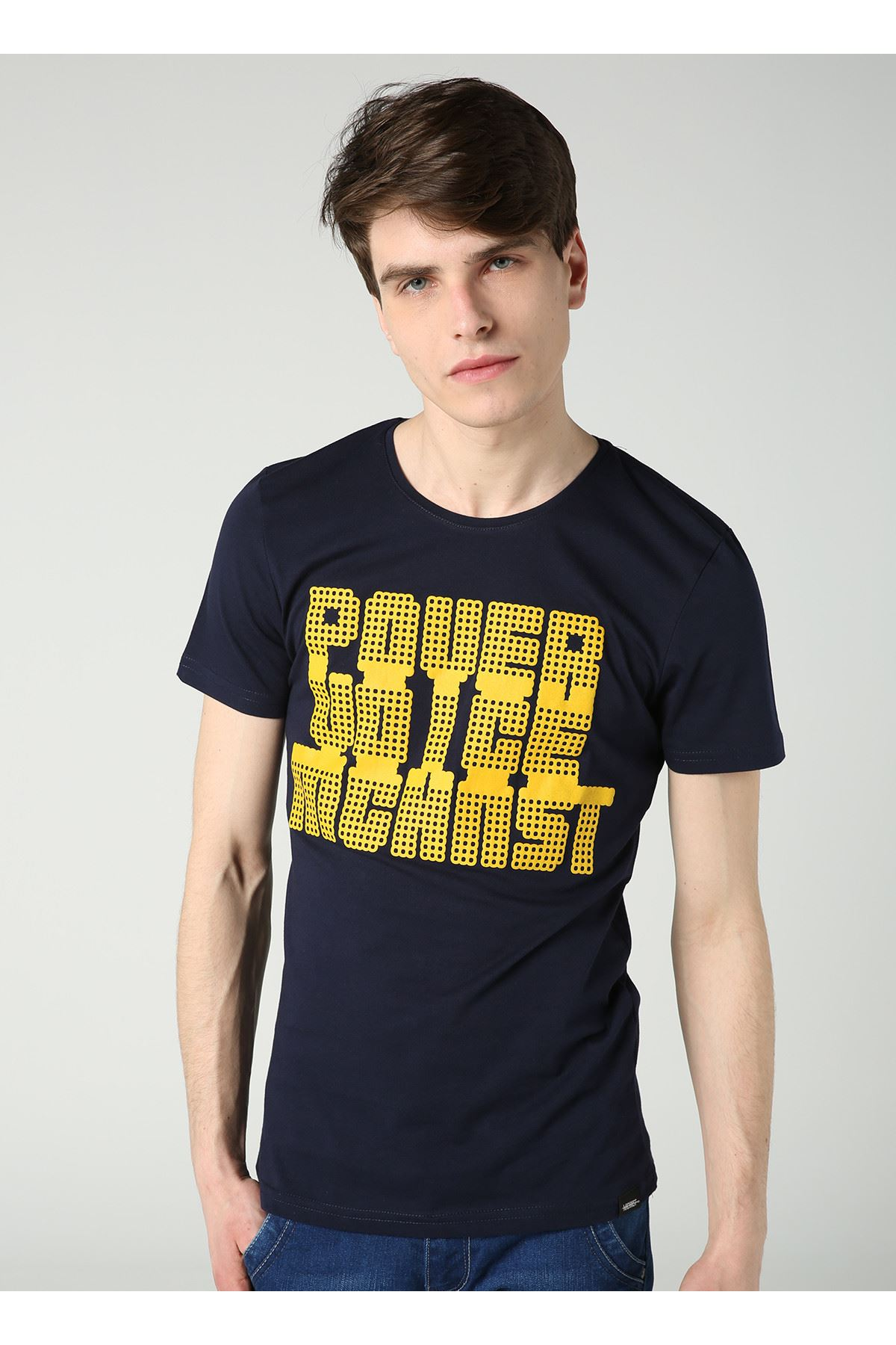 Bisiklet Yaka Power Baskılı Erkek Lacivert T-Shirt