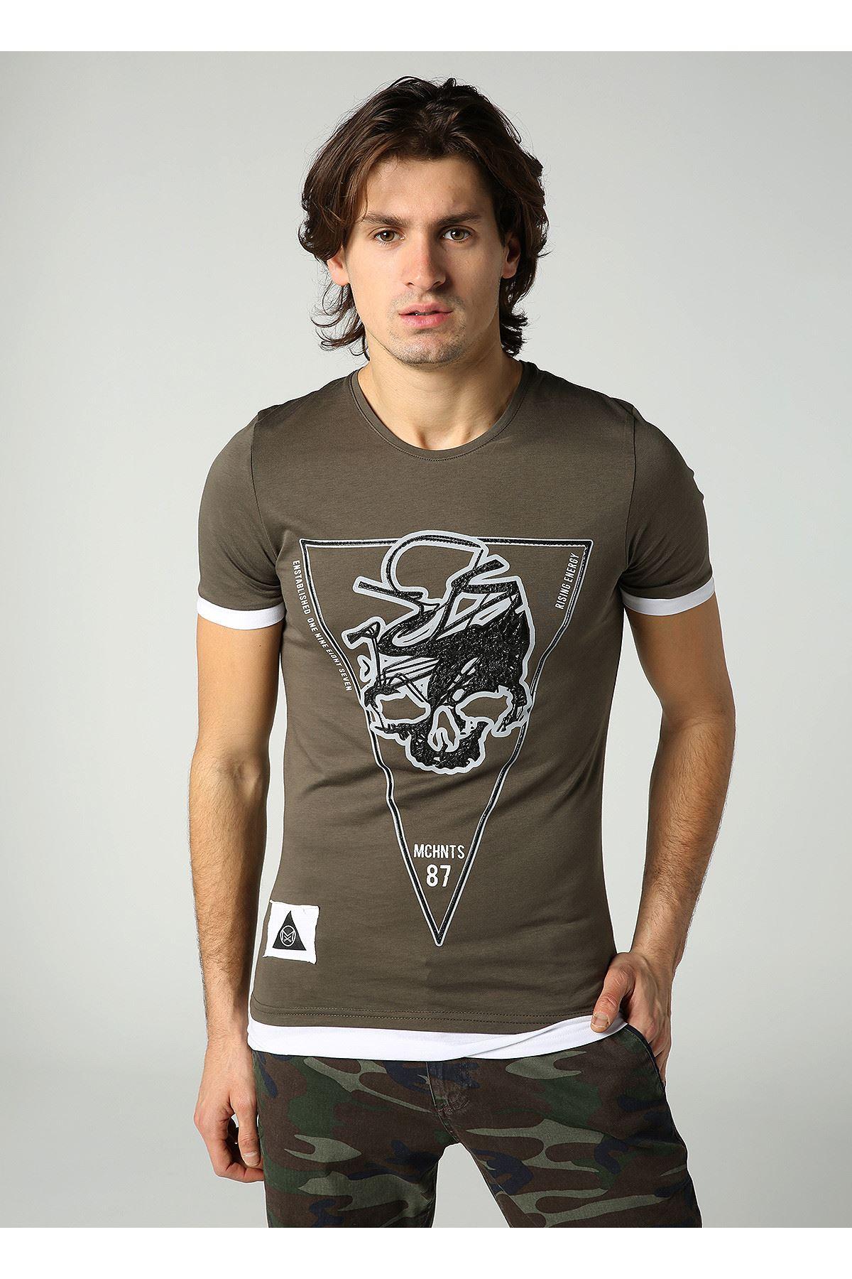 Bisiklet Yaka Kuru Kafa Baskılı Erkek Haki T-Shirt