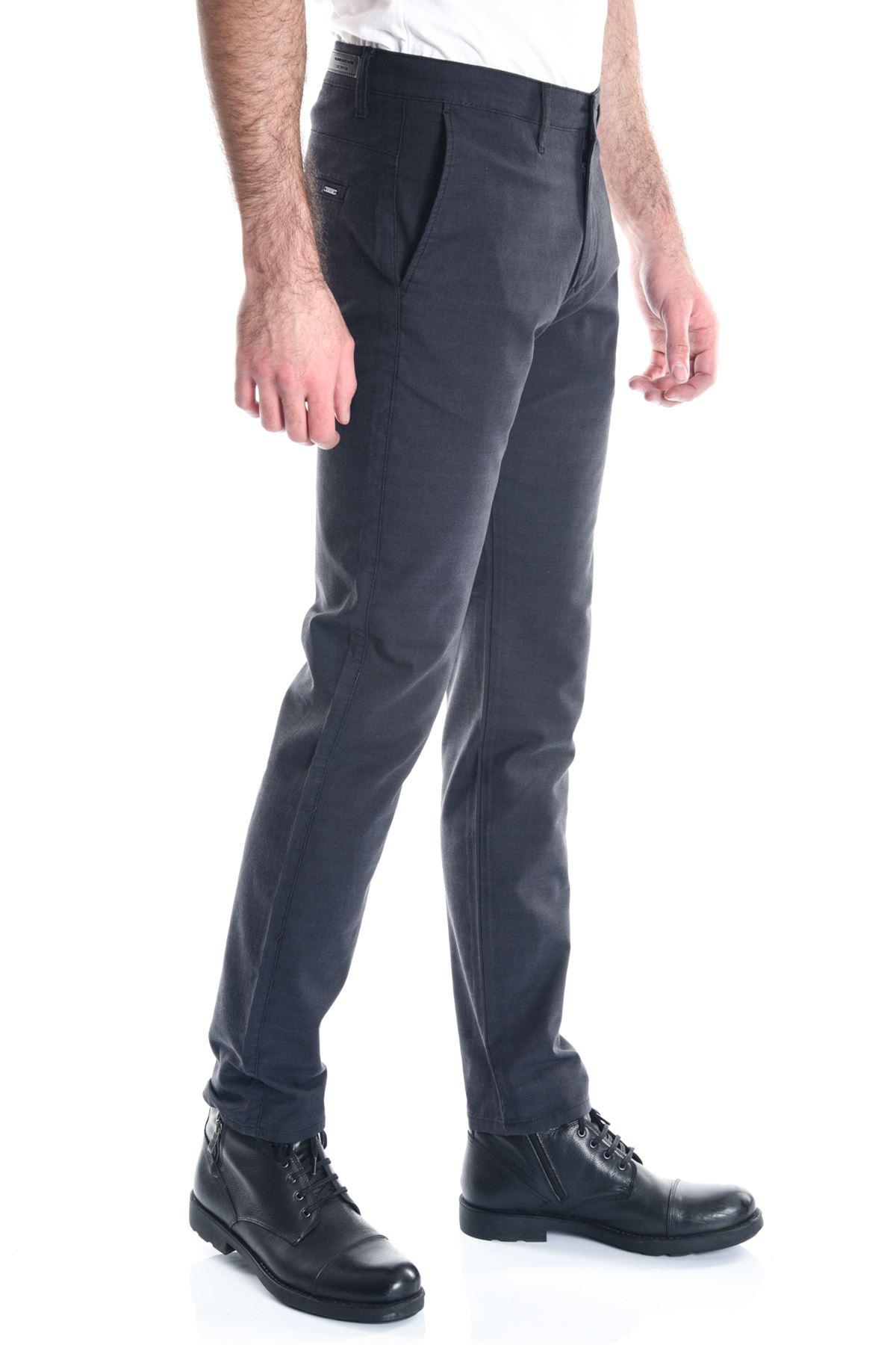 Antrasit Ekose Slimfit Erkek Chino Pantolon