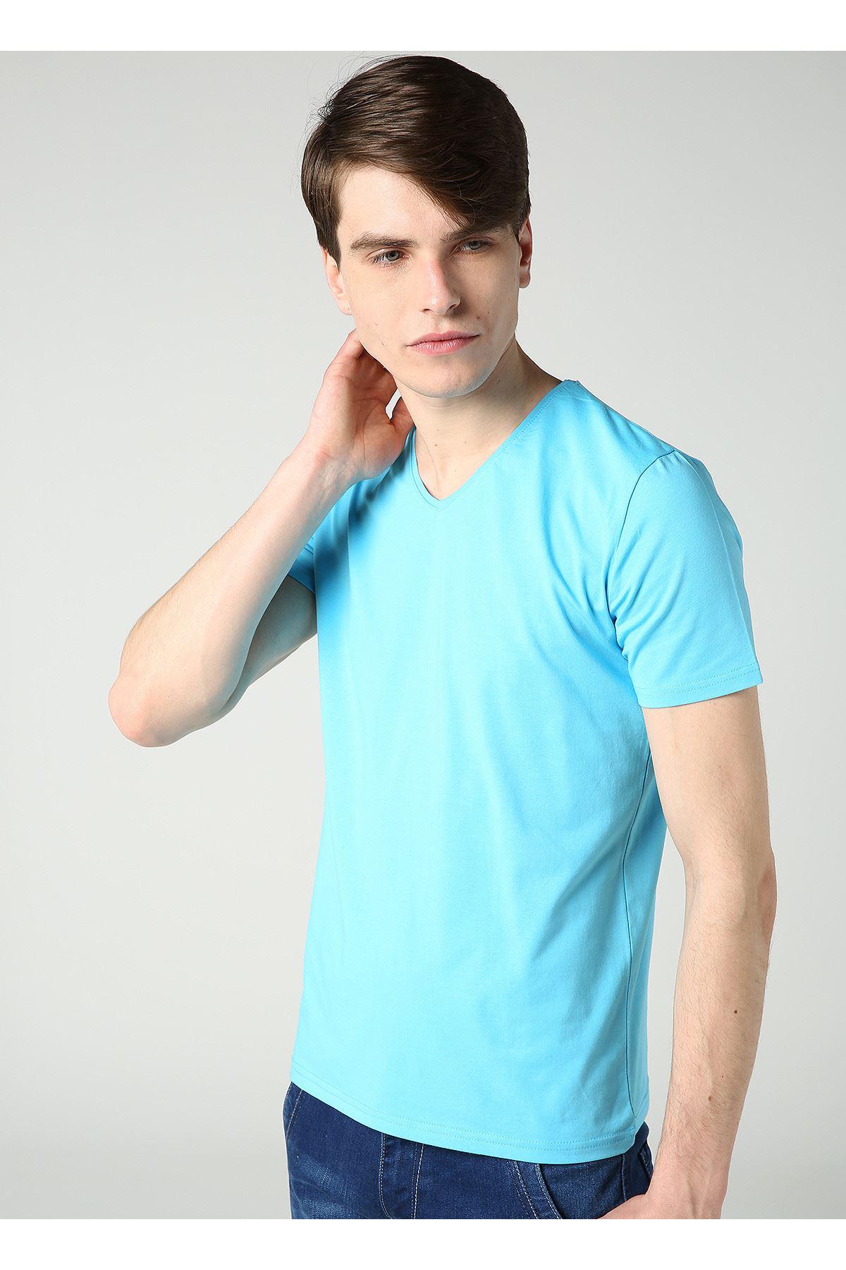 Erkek V Yaka Likralı Basic Turkuaz T-Shirt
