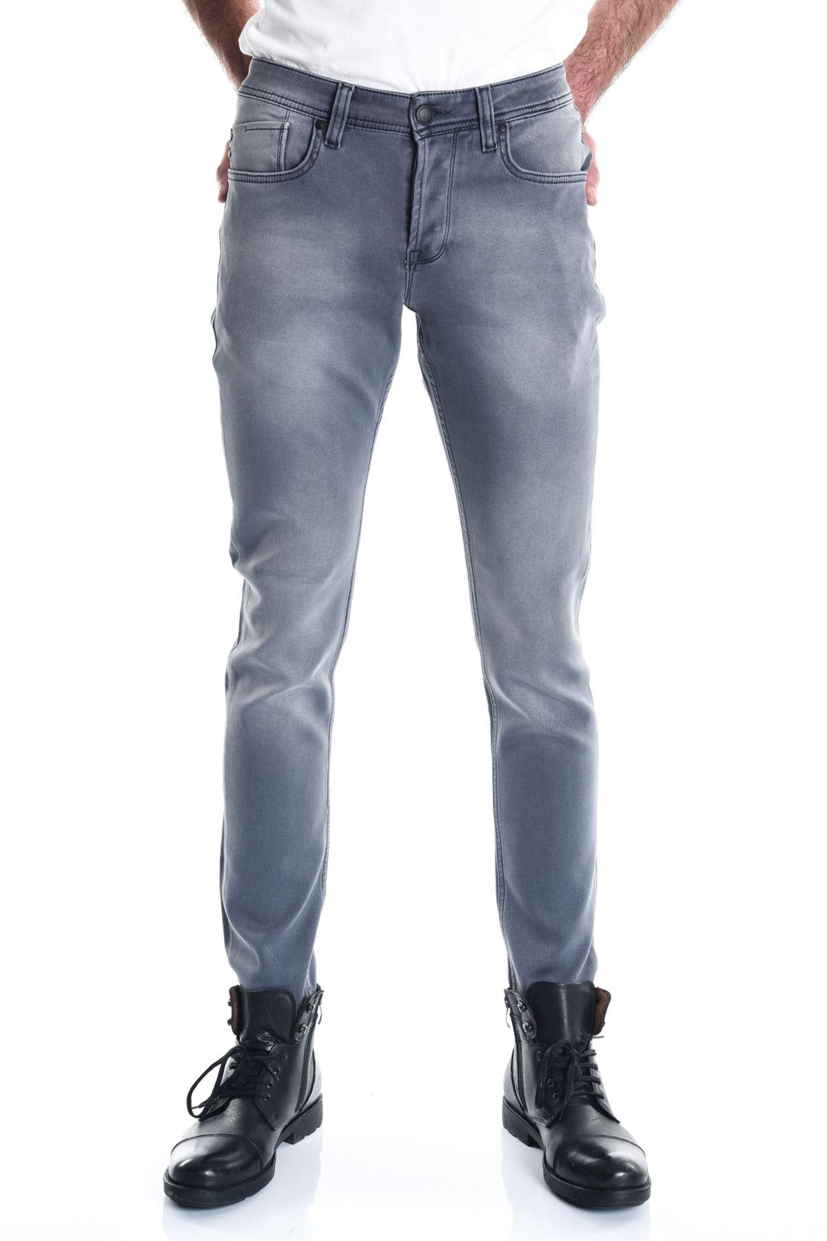 Gri Örme Slimfit Erkek Kot Pantolon