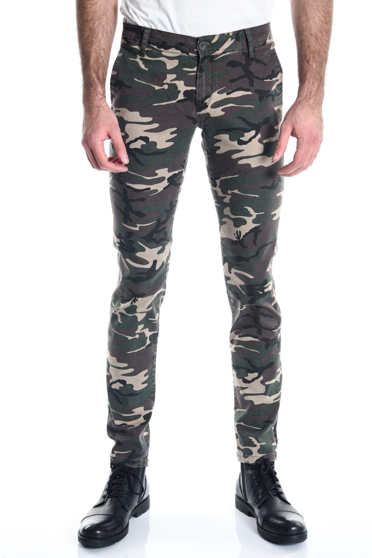 Kamuflaj Erkek Slimfit Taş Chino Pantolon