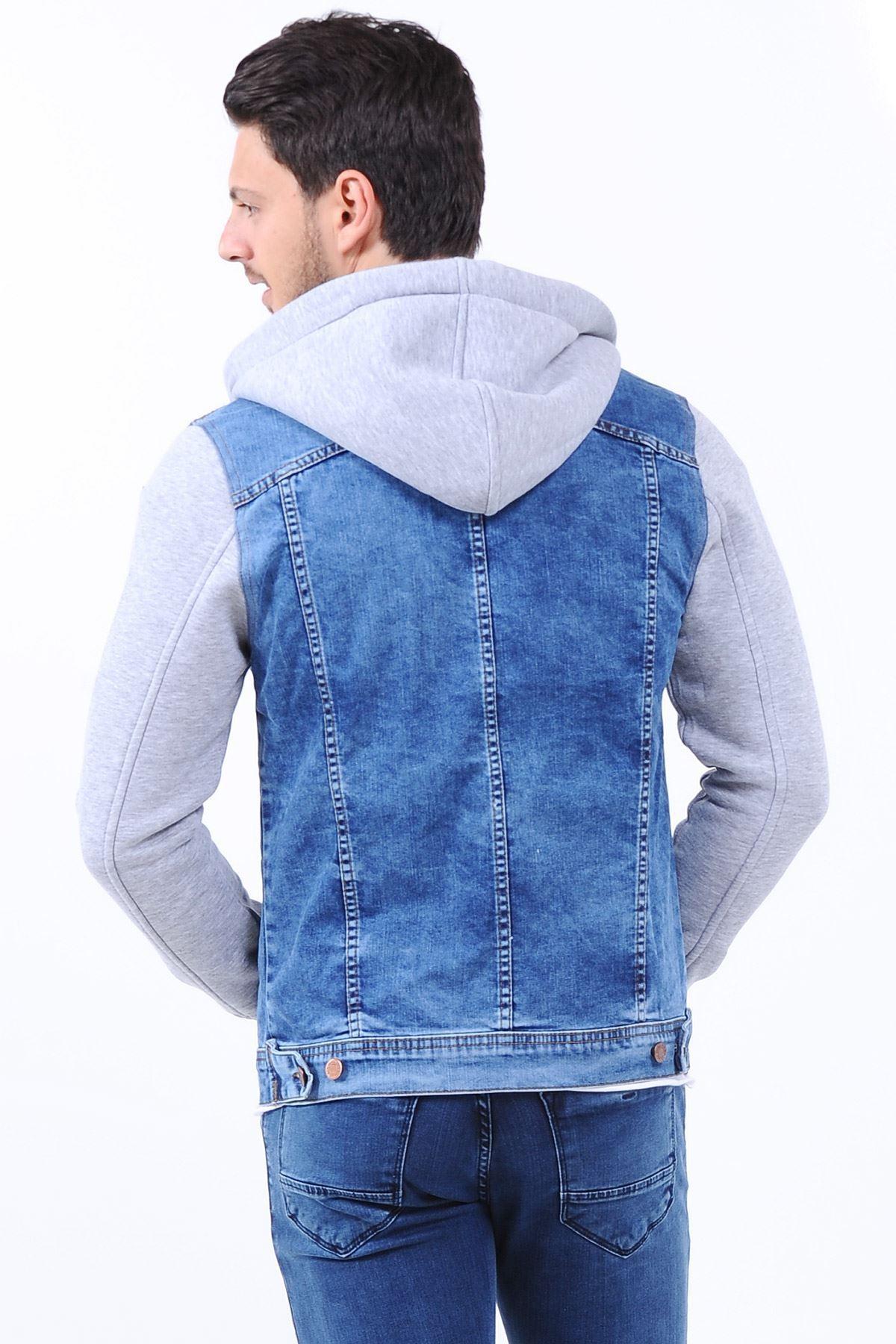 Kollar Gri Kapüşonlu Açık Mavi Erkek Kot Ceket