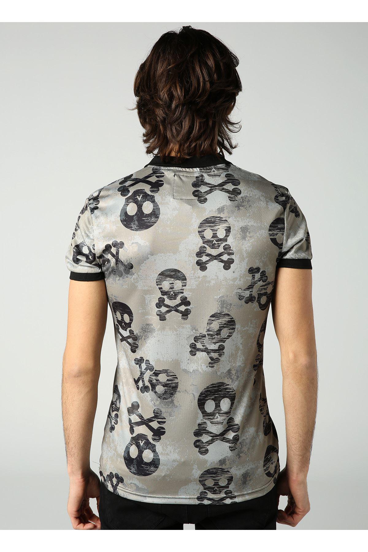 Kuru Kafa Desen Polo Yaka Füme Erkek T-Shirt
