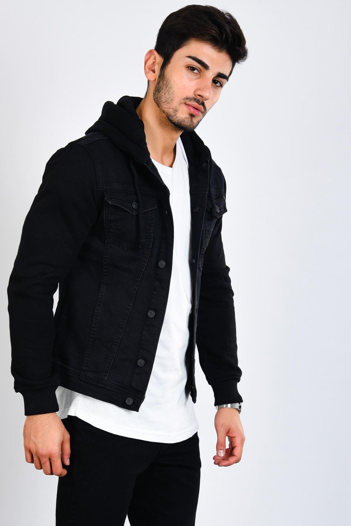 Kol Kapüşon Siyah Erkek Kot Ceket