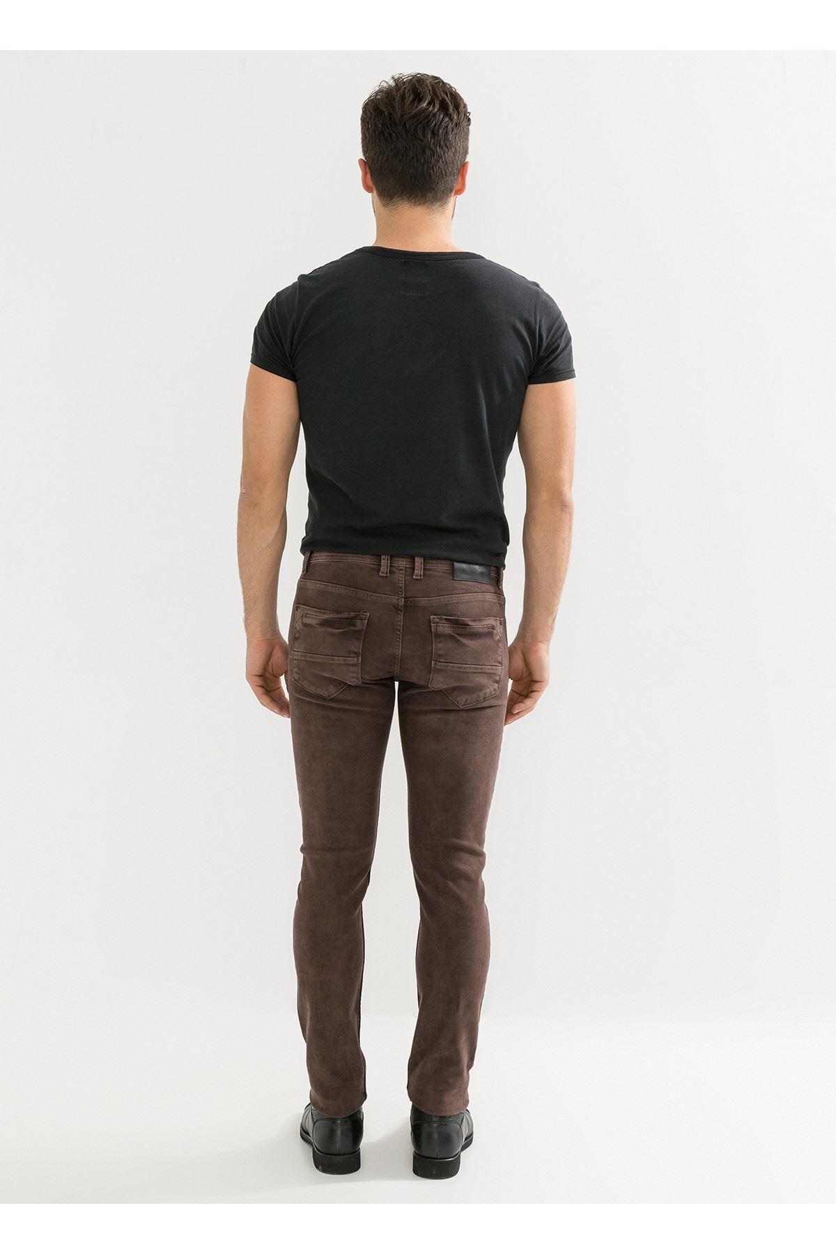 Kahve Yıkamalı Erkek Kot Pantolon