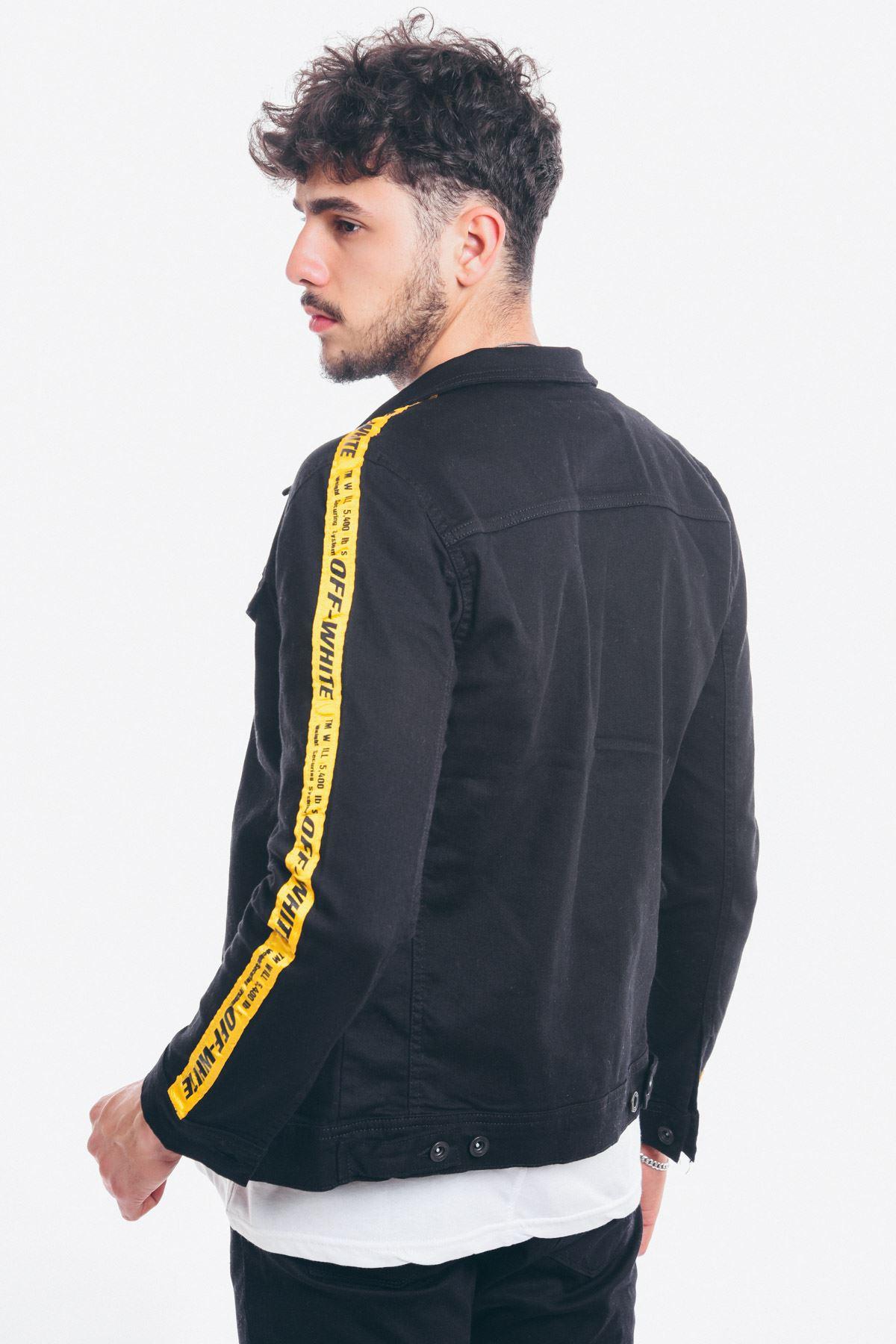 Kolları Şeritli Siyah Erkek Kot Ceket