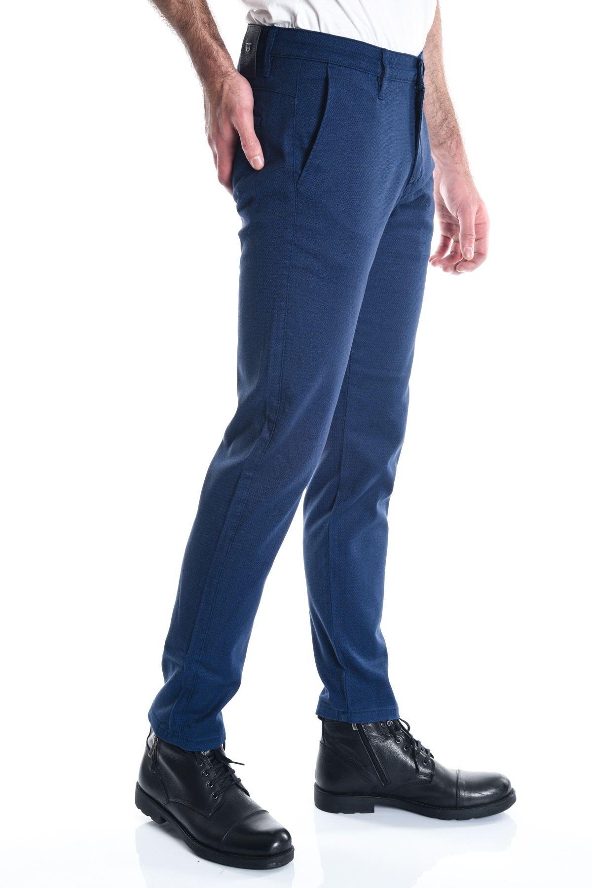 Lacivert Desenli Armürlü Chino Erkek Pantolon