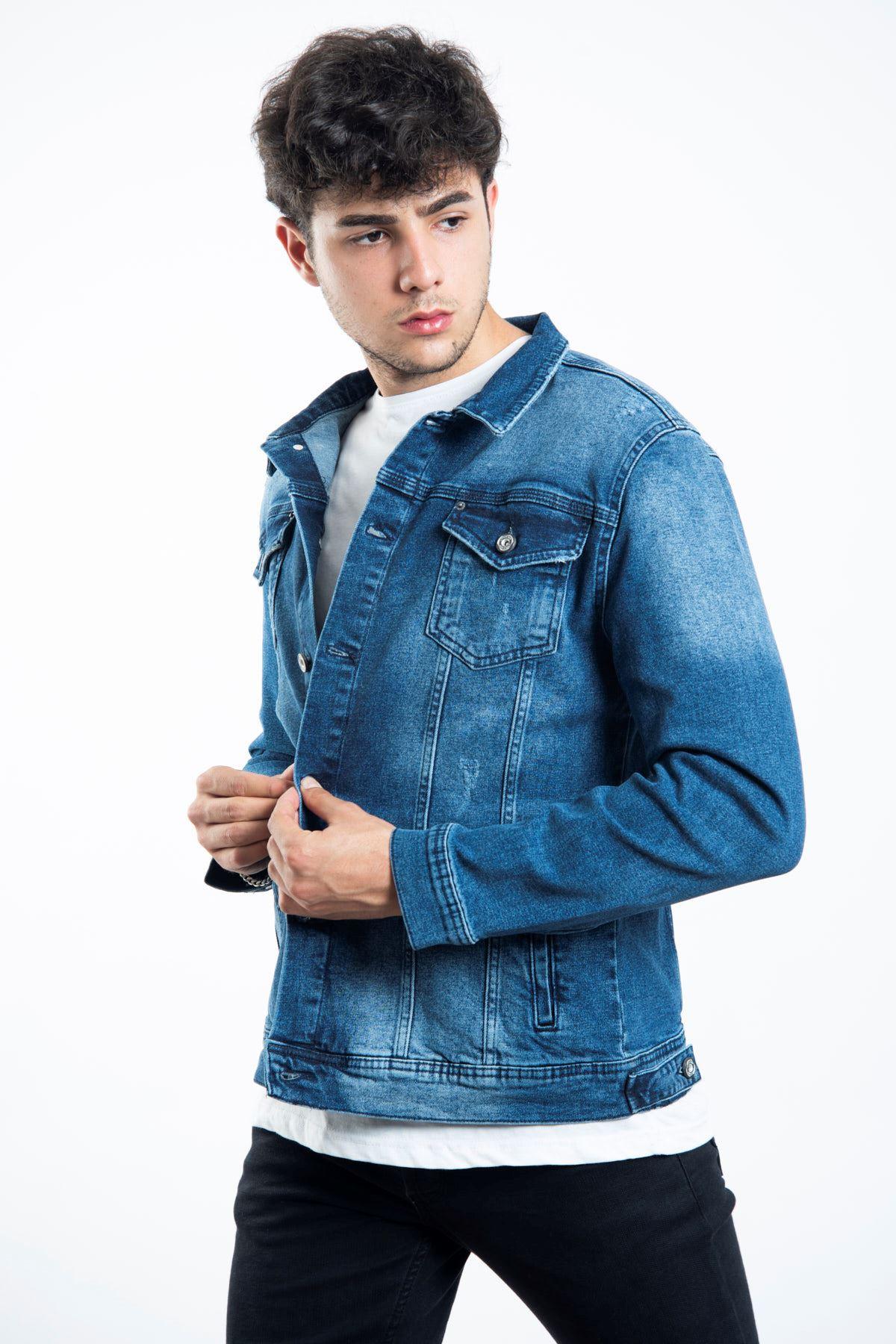Mavi Düğmeli Yıpratmalı Erkek Kot Ceket