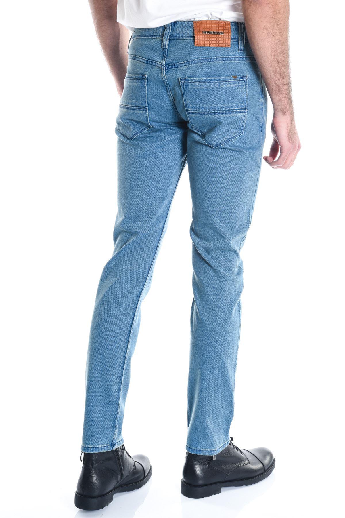 Mavi Sade Örme Kumaş Erkek Kot Pantolon