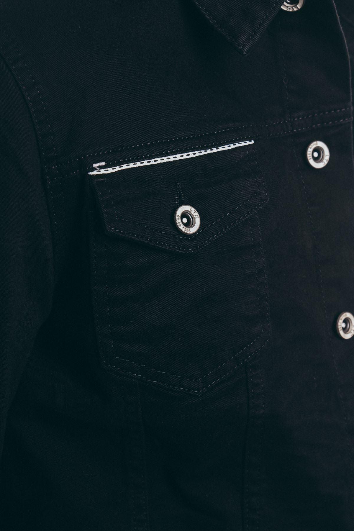 Nakışlı Erkek Siyah Gabardin Ceket