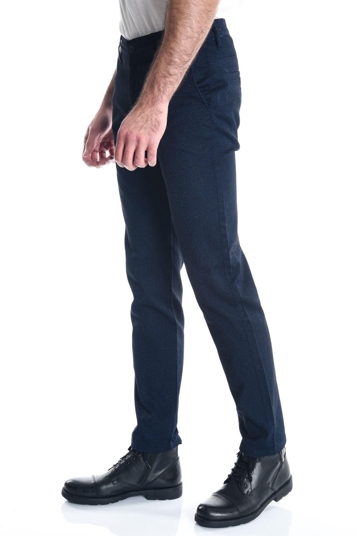 Lacivert Siyah Desenli Armür Erkek Chino Pantolon