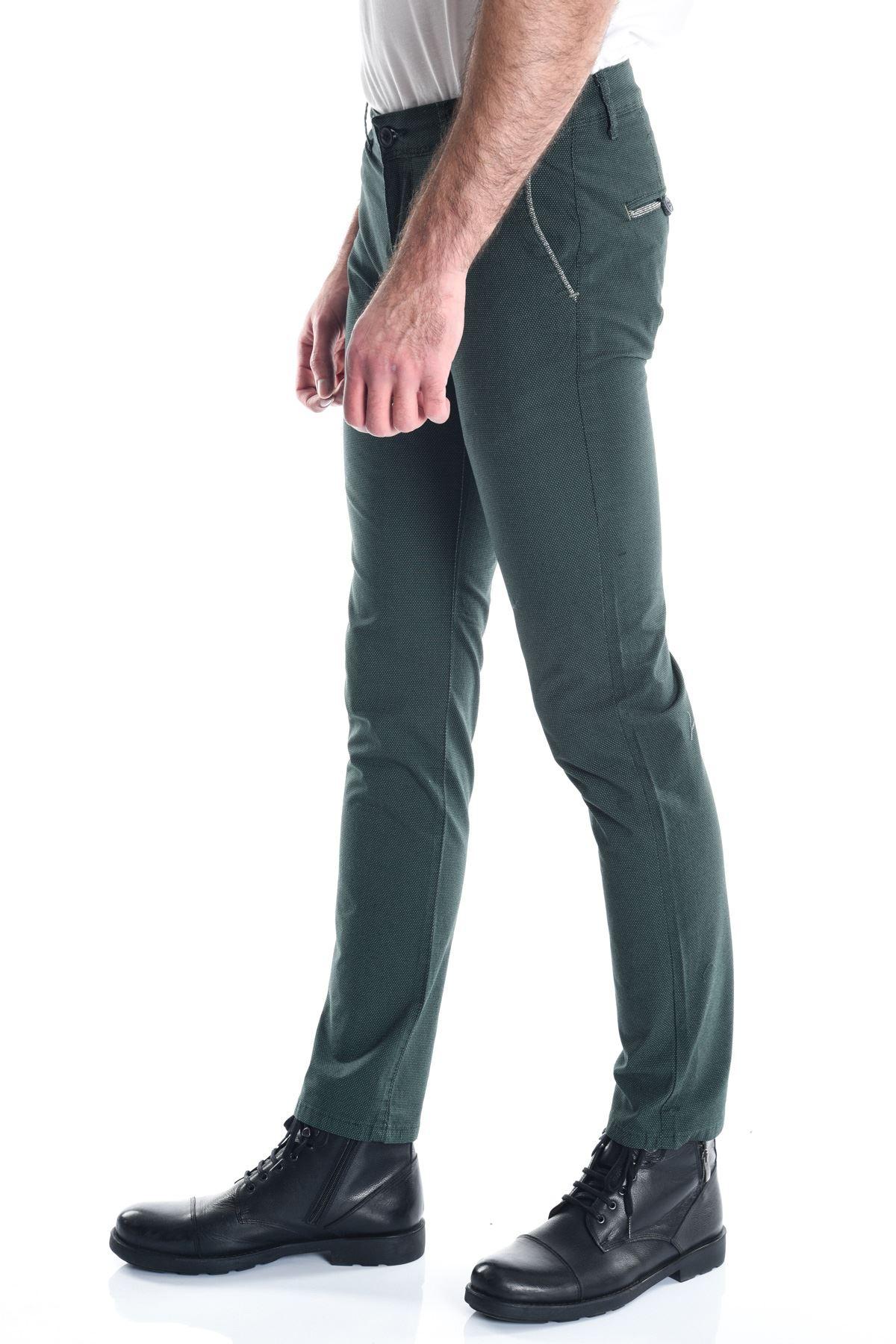 Yeşil Noktalı Erkek Slimfit Chino Pantolon