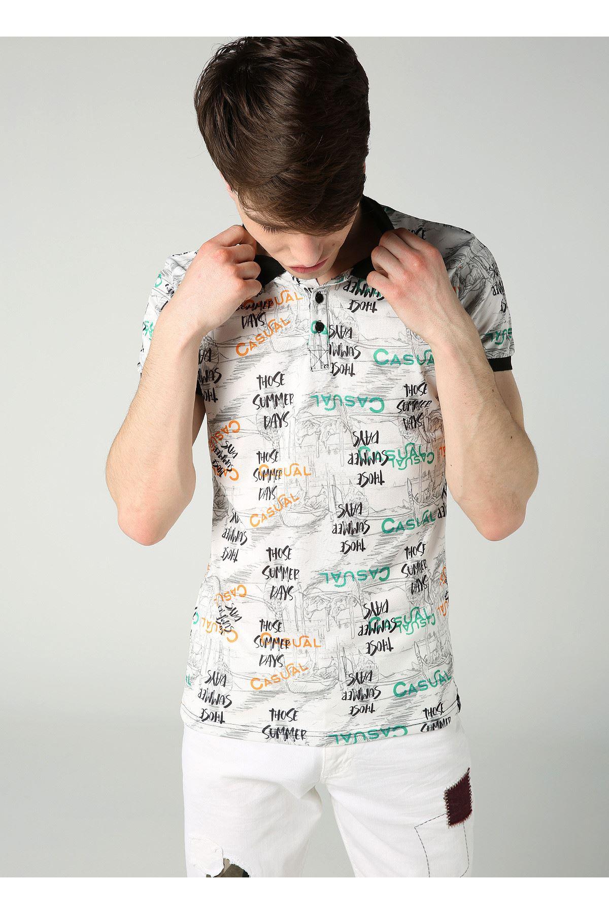 Yazı Desenli Polo Yaka Beyaz Erkek T-Shirt
