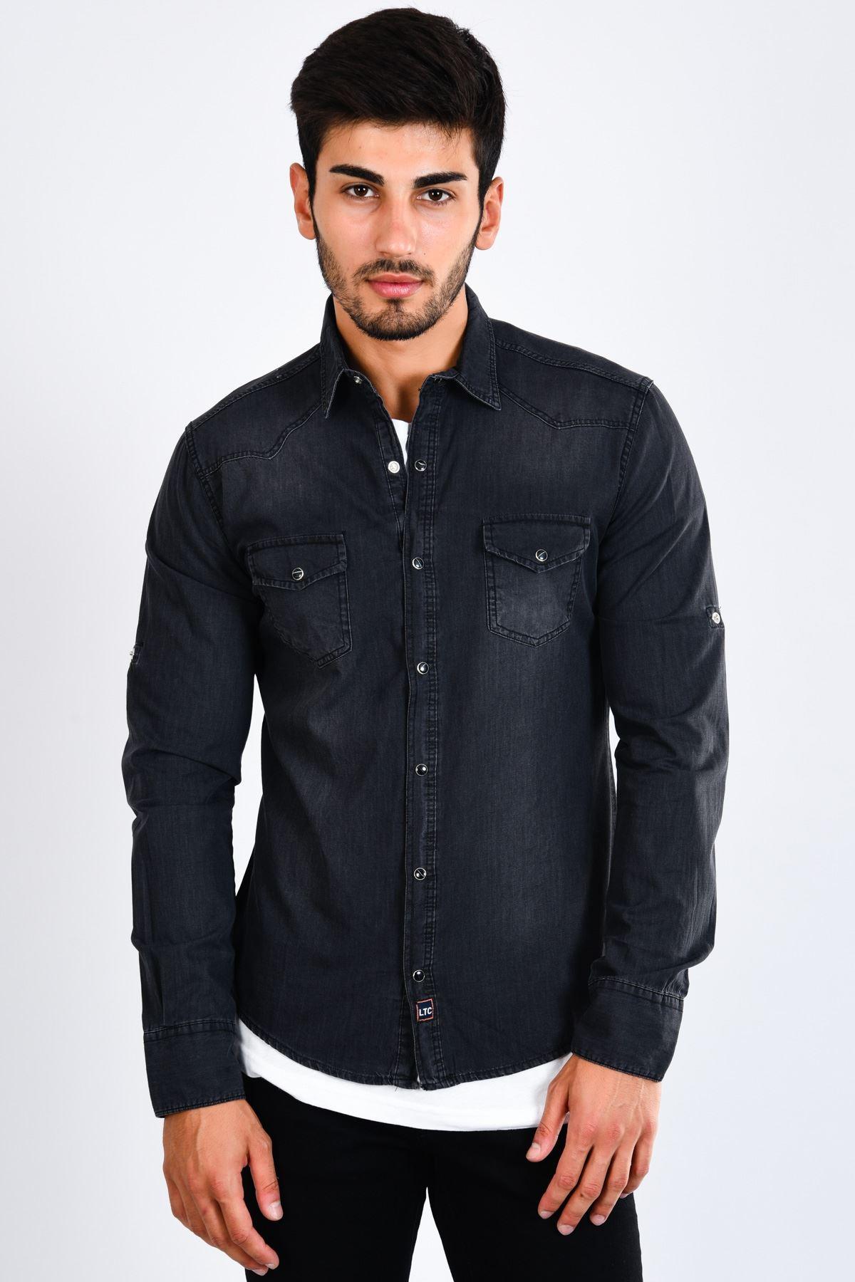 Siyah Yıkama Detay Erkek Kot Gömlek