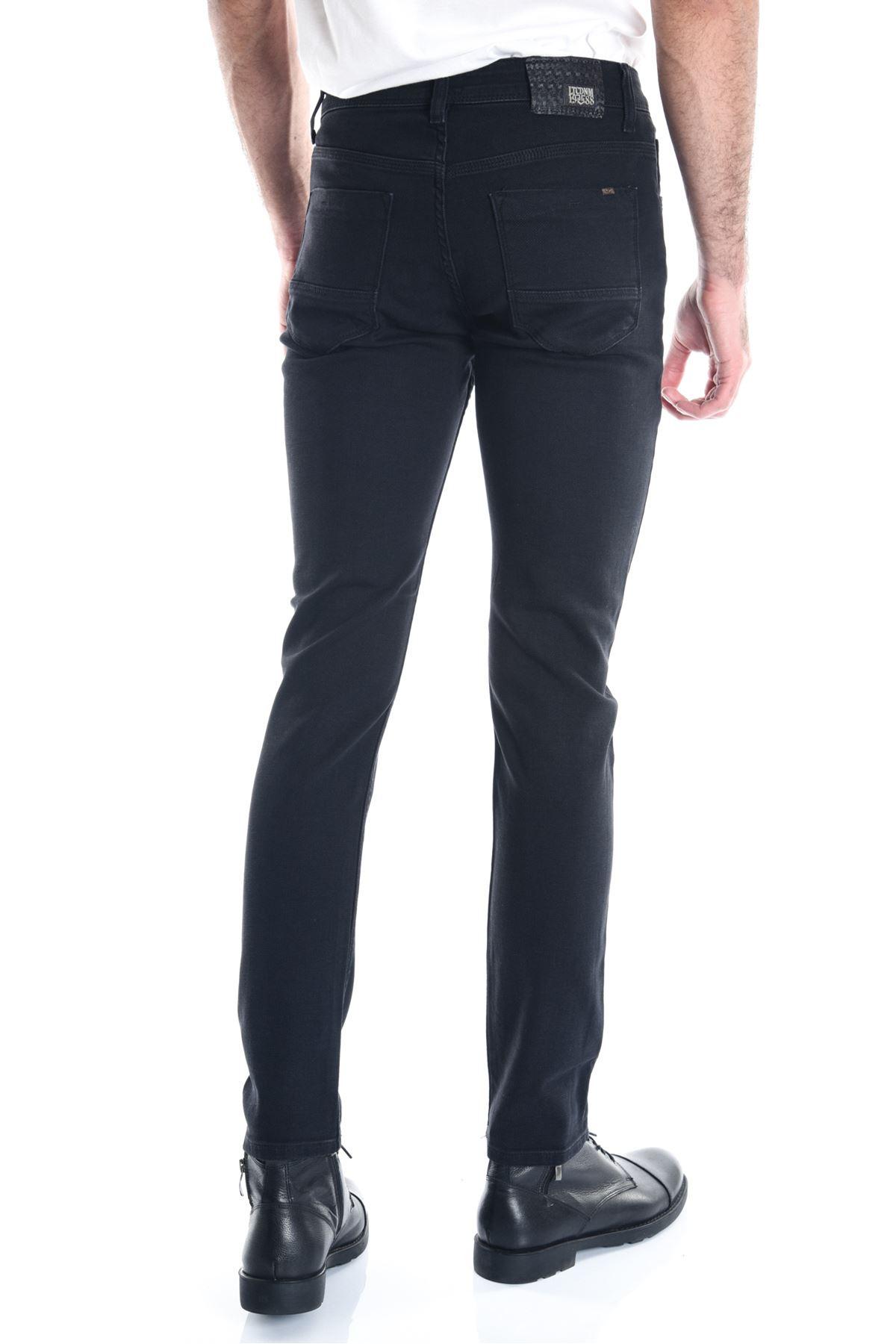 Siyah Sade Fitilli Örme Erkek Kot Pantolon