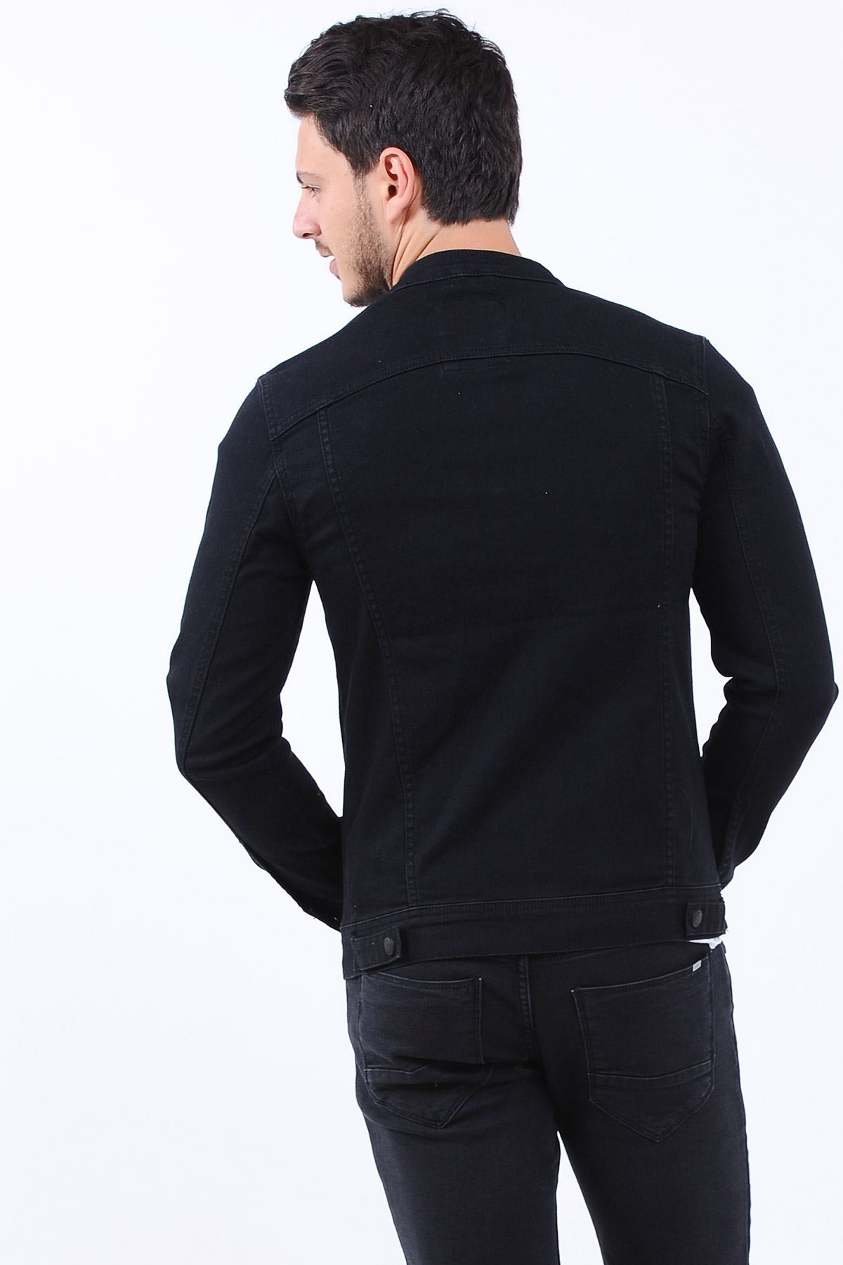 Tek Fermuarlı Cep Erkek Kot Ceket Siyah