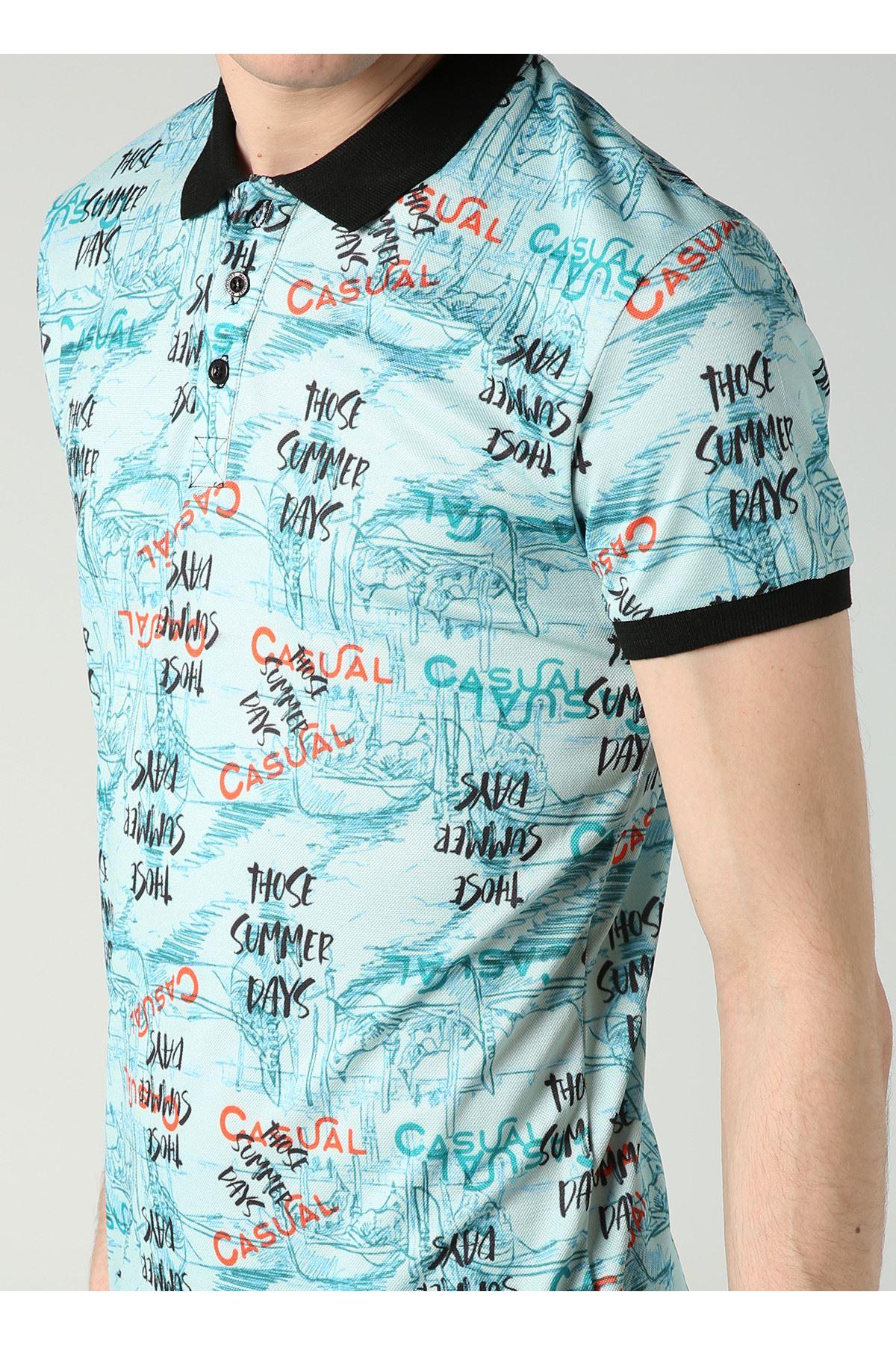Yazı Desenli Polo Yaka Yeşil Erkek T-Shirt