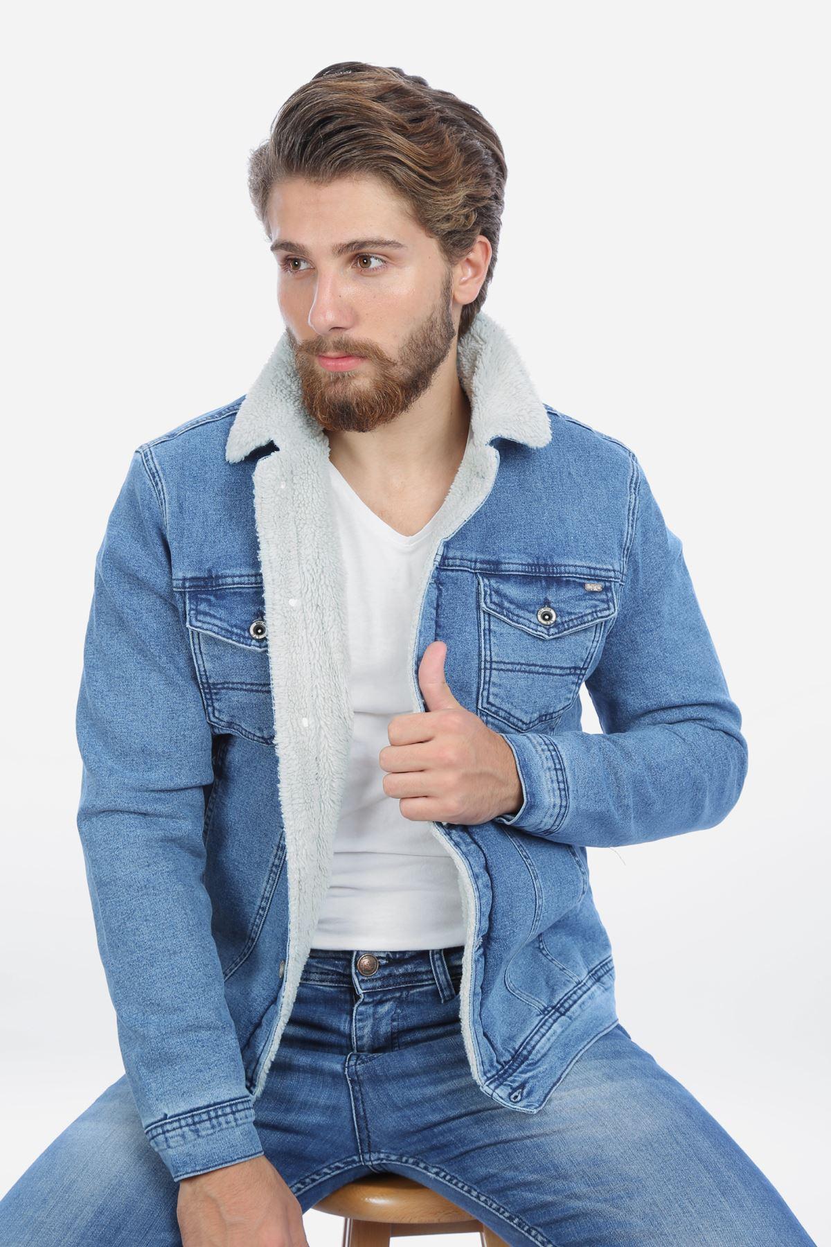İçi Kürklü Açık Mavi Erkek Kot Mont