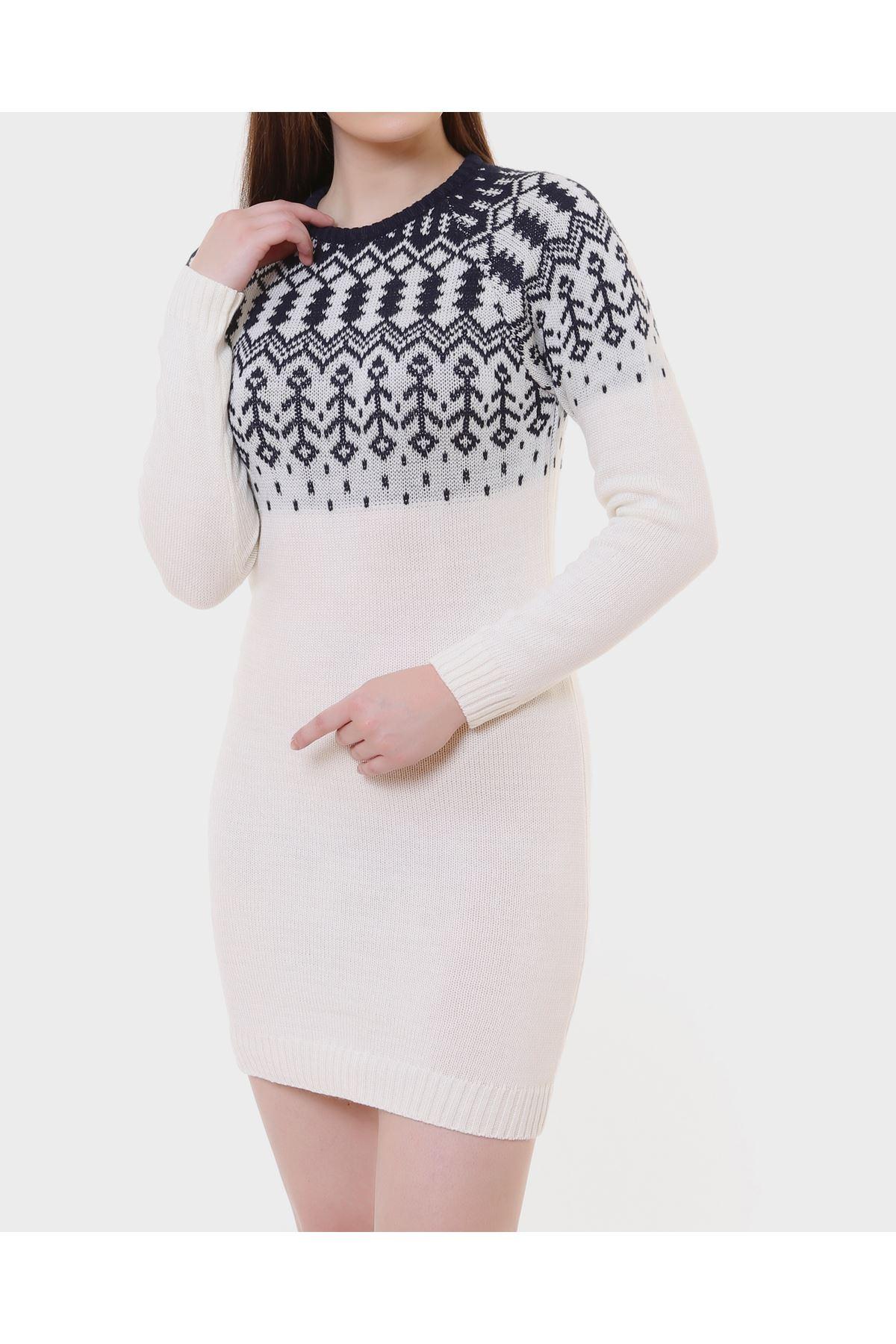 Lacivert Desenli Beyaz Bayan  Triko