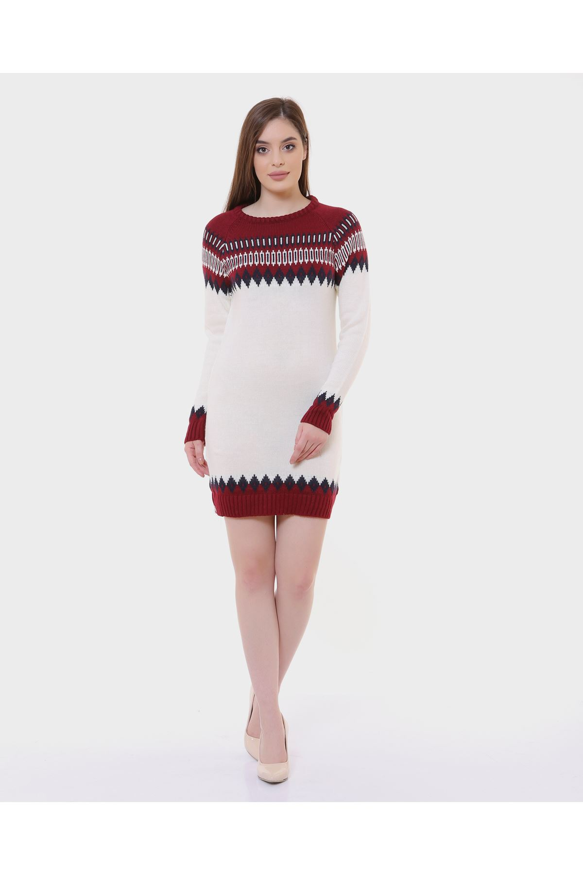 Desenli Kırmızı Beyaz Bayan Triko 1