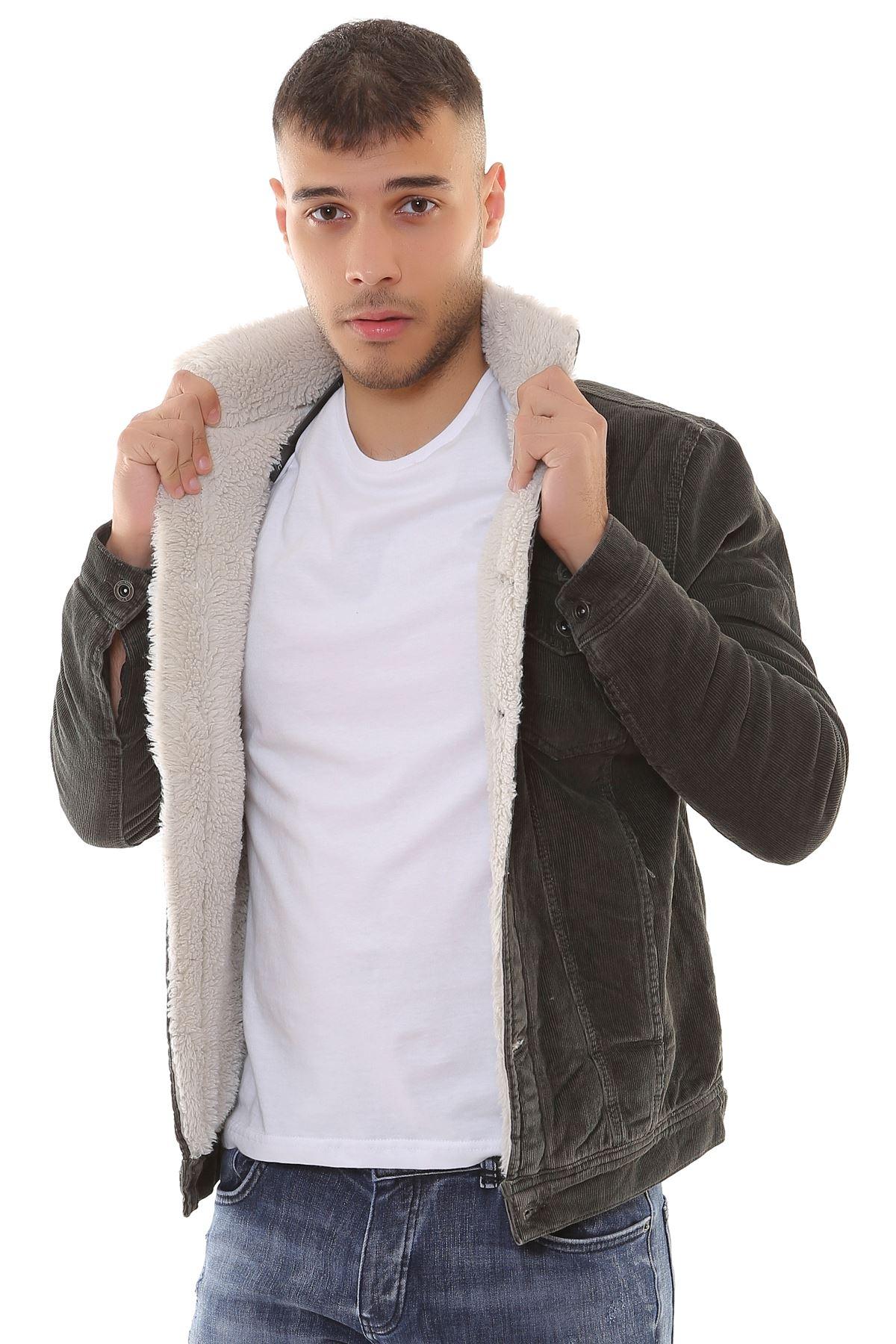 Kadife İçi Kürklü Düğmeli Haki Ceket