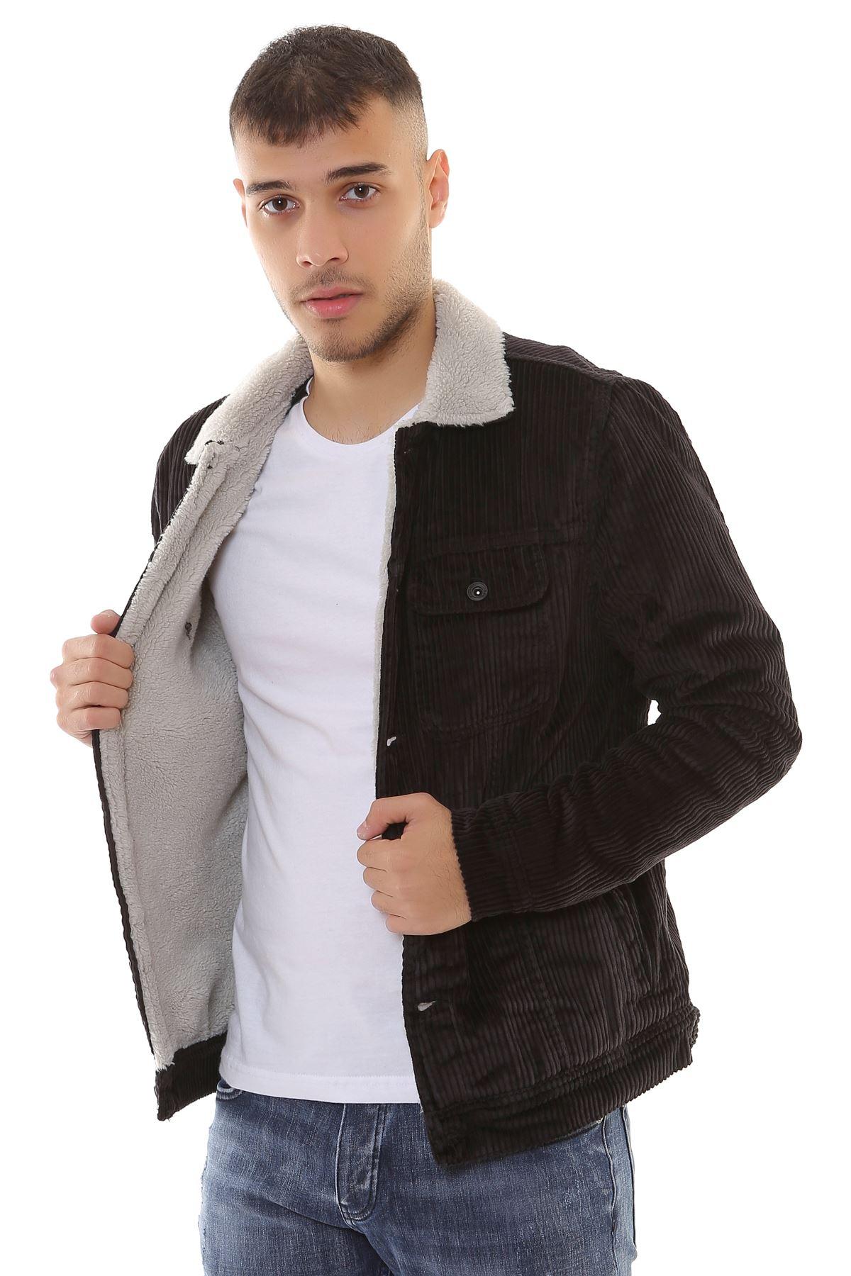 Kadife İçi Kürklü Düğmeli Siyah Ceket