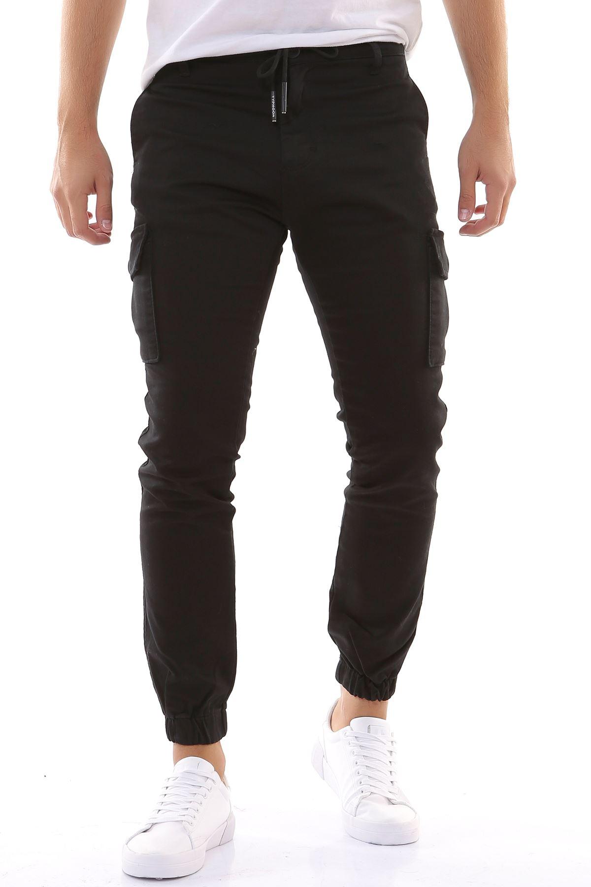 Beli İpli Paçası Lastikli Likralı Keten Kargo Siyah Pantolon