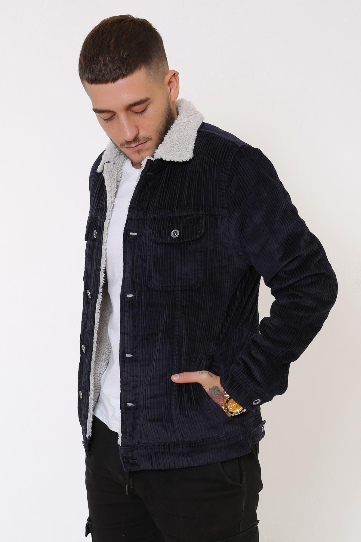 Kadife İçi Kürklü Düğmeli Lacivert Ceket