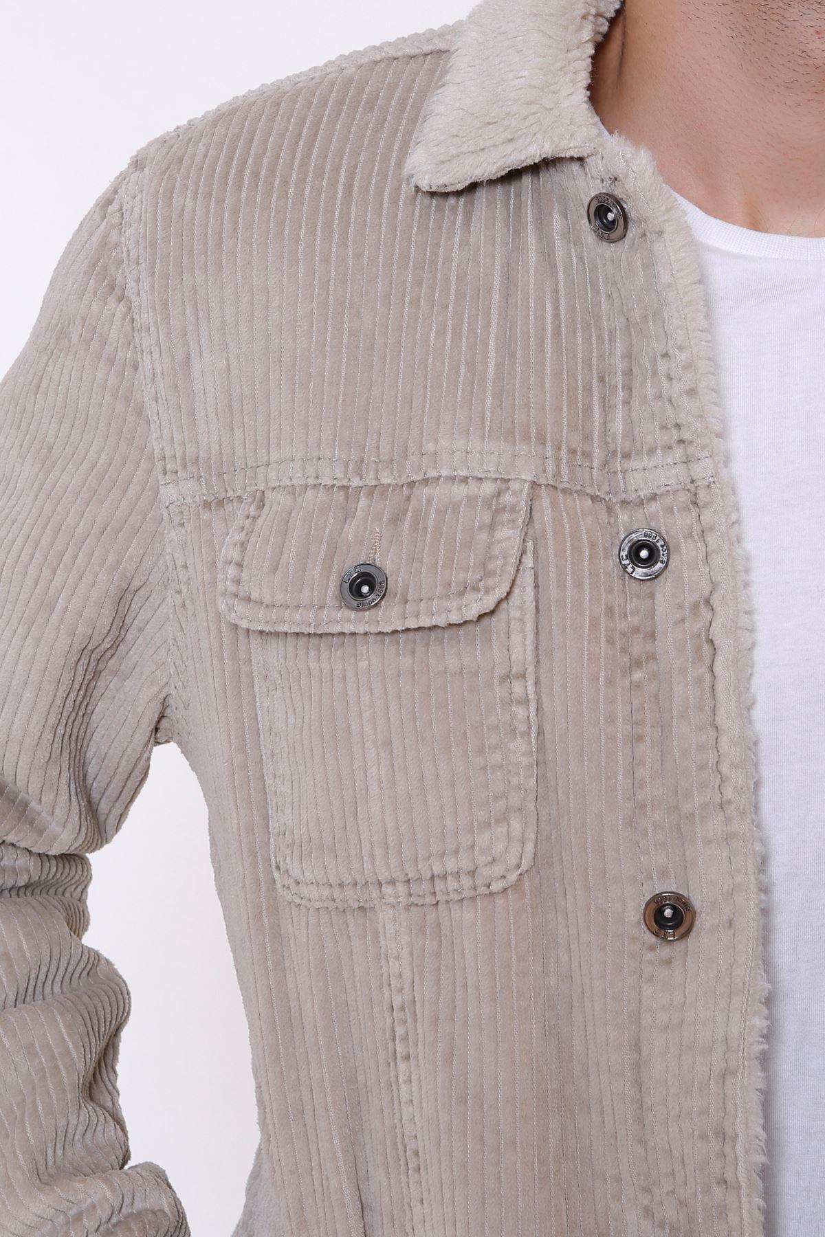 Kadife İçi Kürklü Düğmeli Taş Ceket