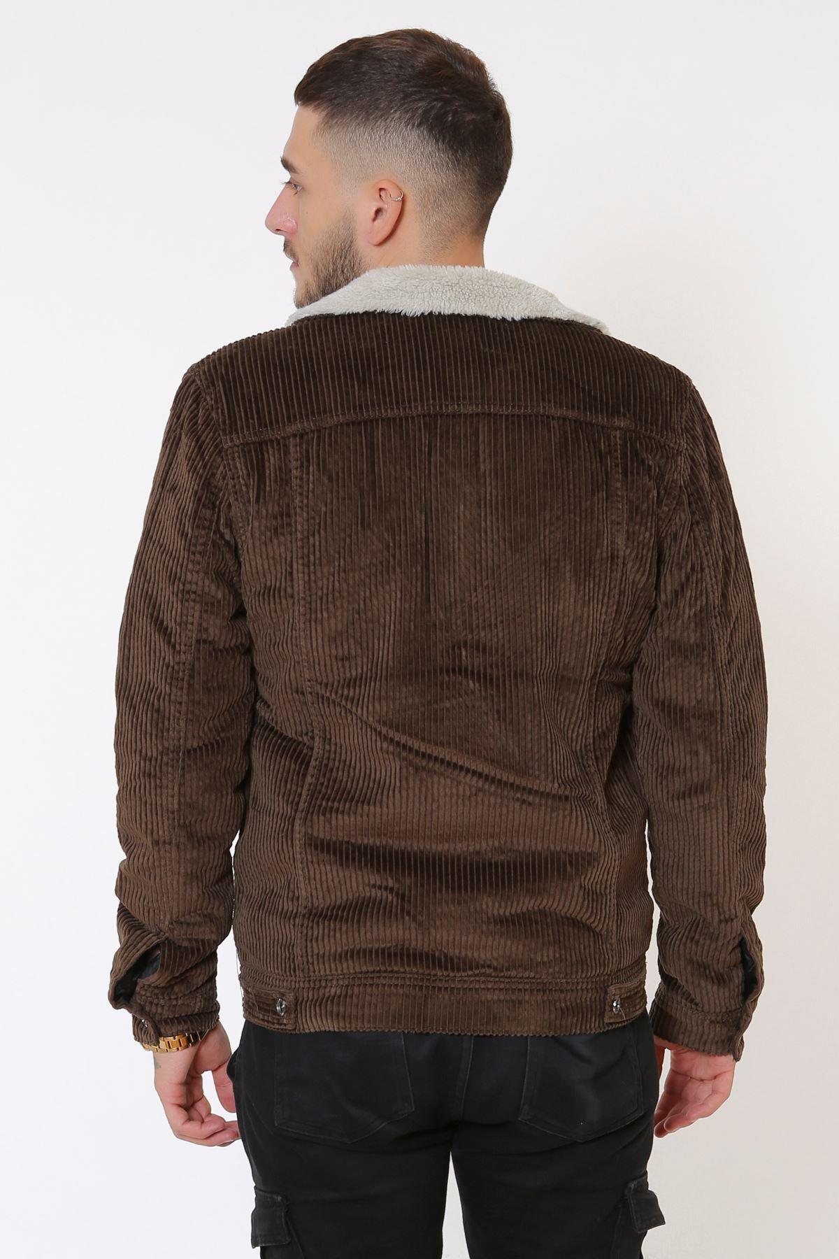 Kadife İçi Kürklü Düğmeli Kahve Ceket
