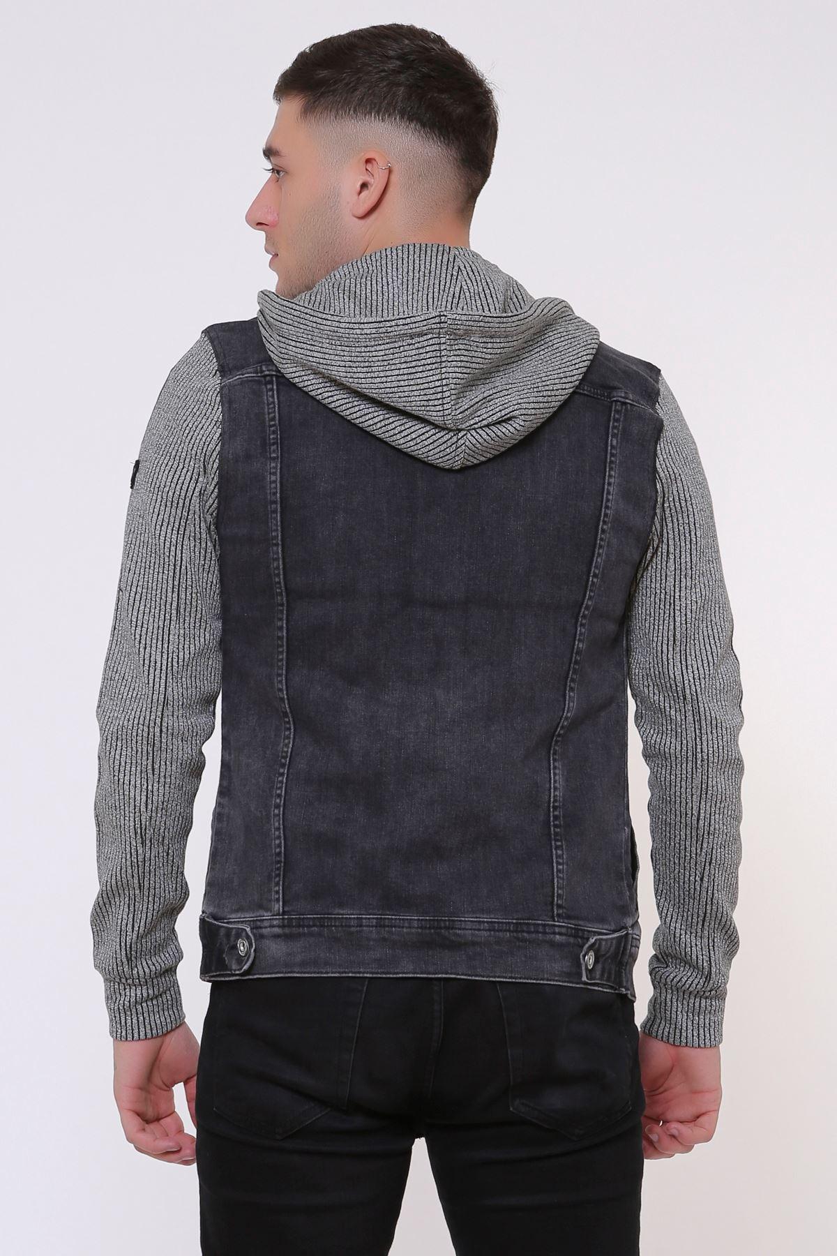 Kapüşonlu Kolu Şerit Detay Erkek Füme Kot Ceket