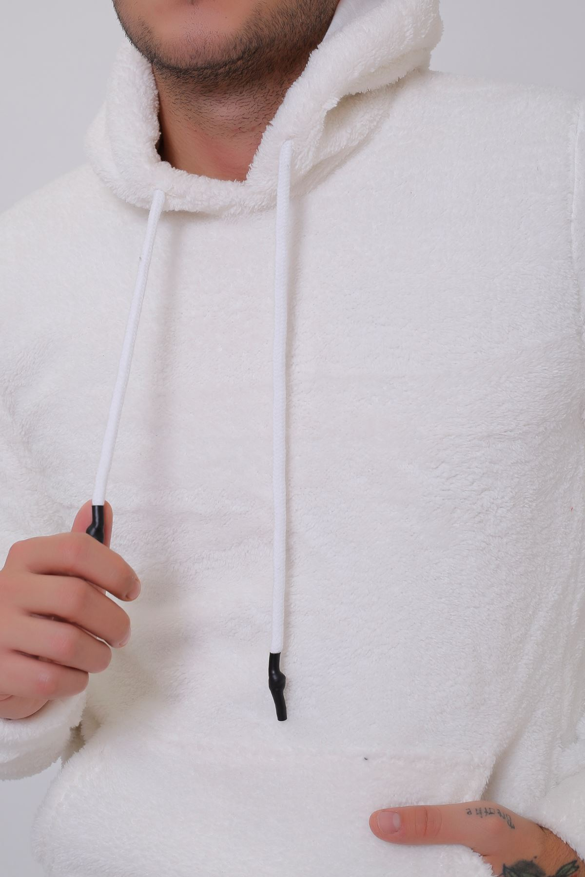 Erkek  Kanguru Cepli Kapüşonlu Beyaz Peluş  Sweatshirt