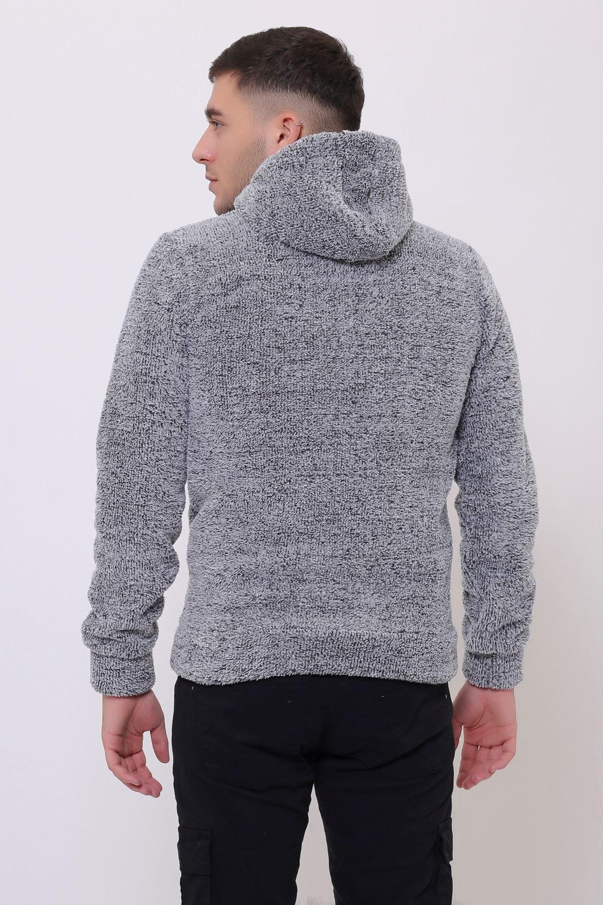 Erkek  Kanguru Cepli Kapüşonlu Gri Peluş  Sweatshirt