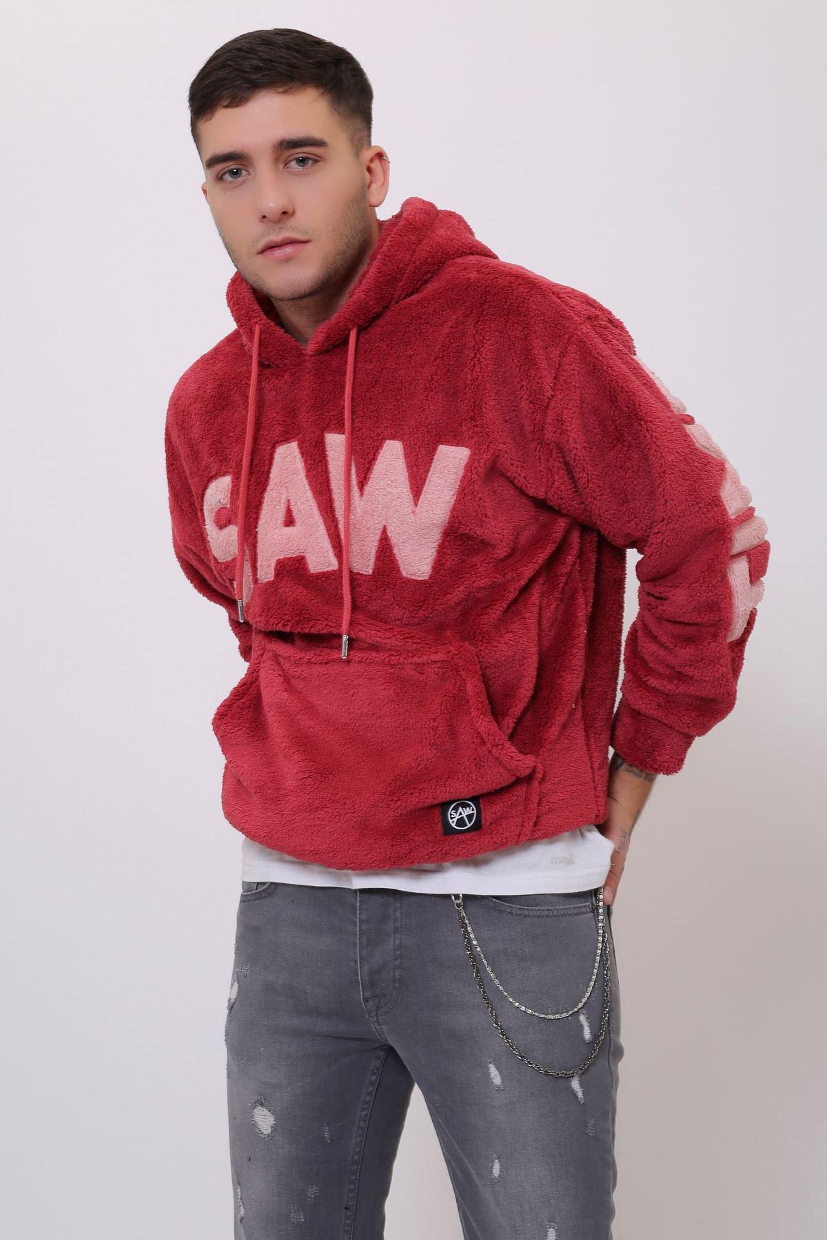 Kiremit Erkek  Kanguru Cepli Kapüşonlu Peluş  Sweatshirt