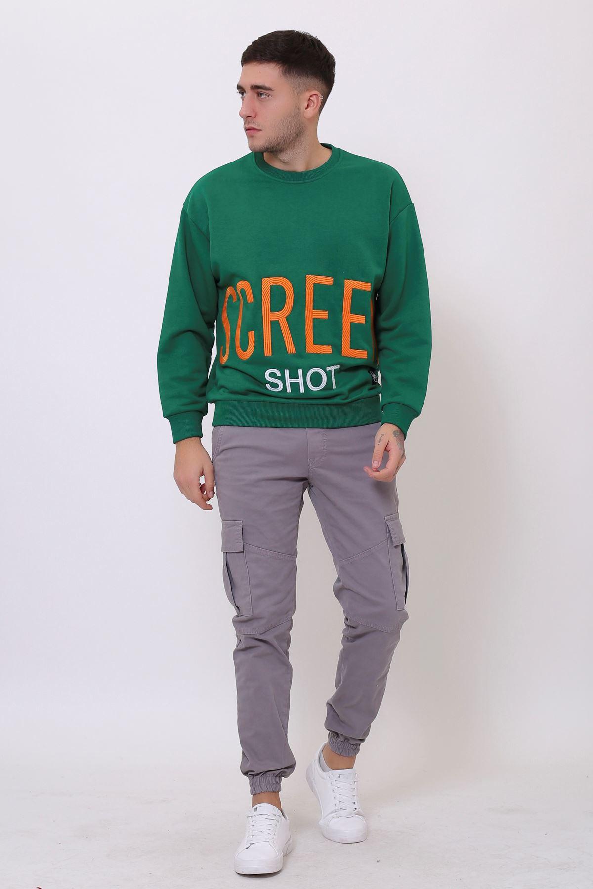 Yeşil Erkek Nakış Baskılı Bisiklet Yaka Sweatshirt