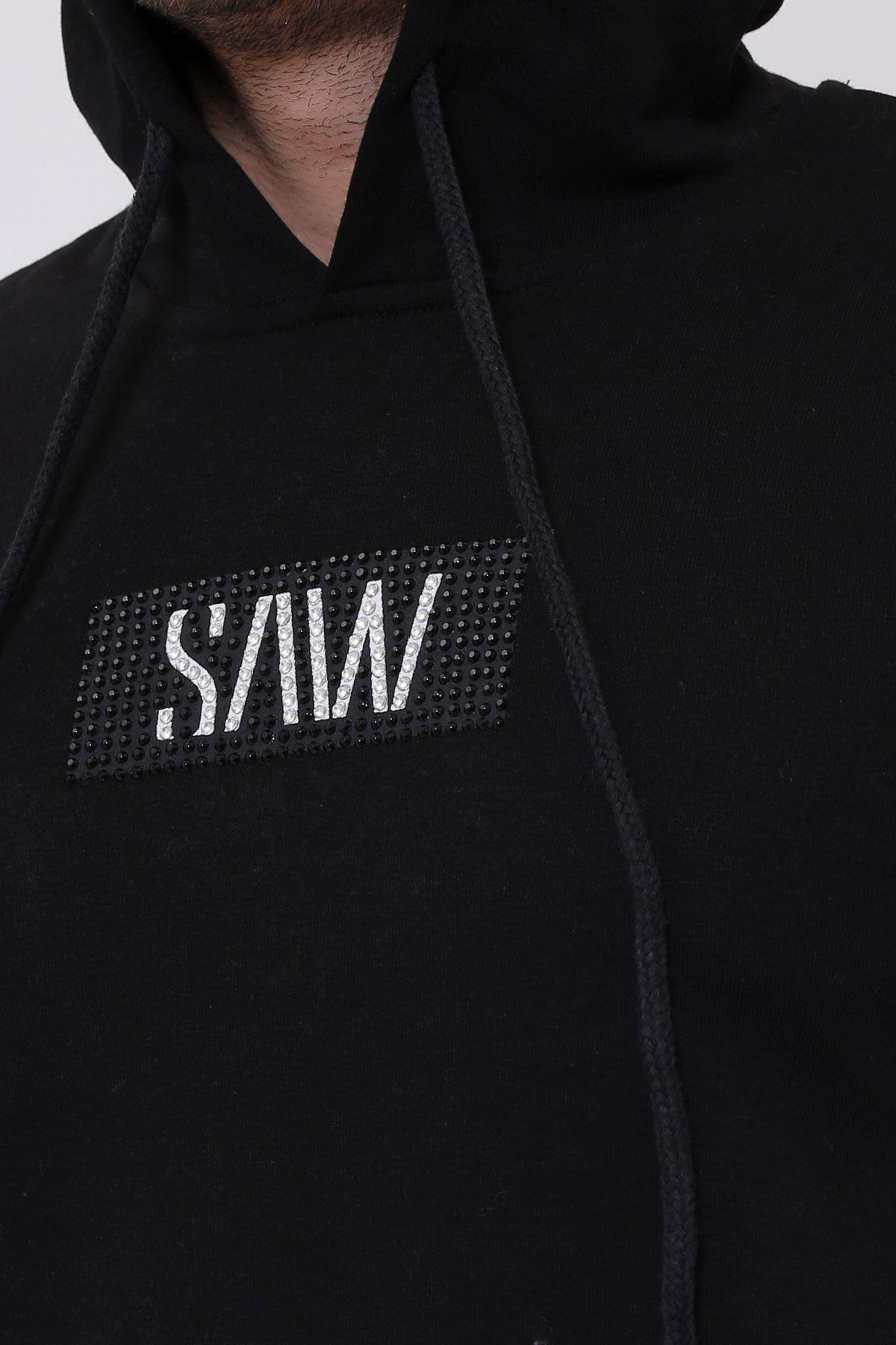 Siyah Erkek Taş Baskılı Kapüşonlu Kanguru Cep Sweatshirt