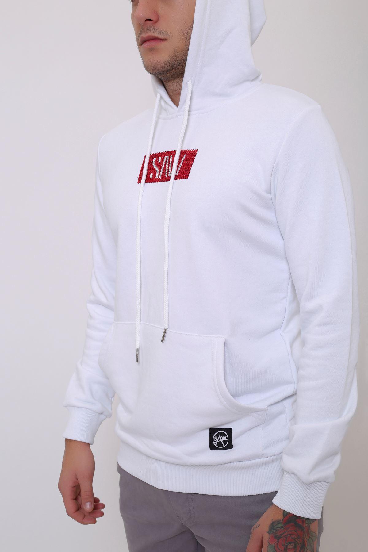 Beyaz Erkek Taş Baskılı Kapüşonlu Kanguru Cep Sweatshirt