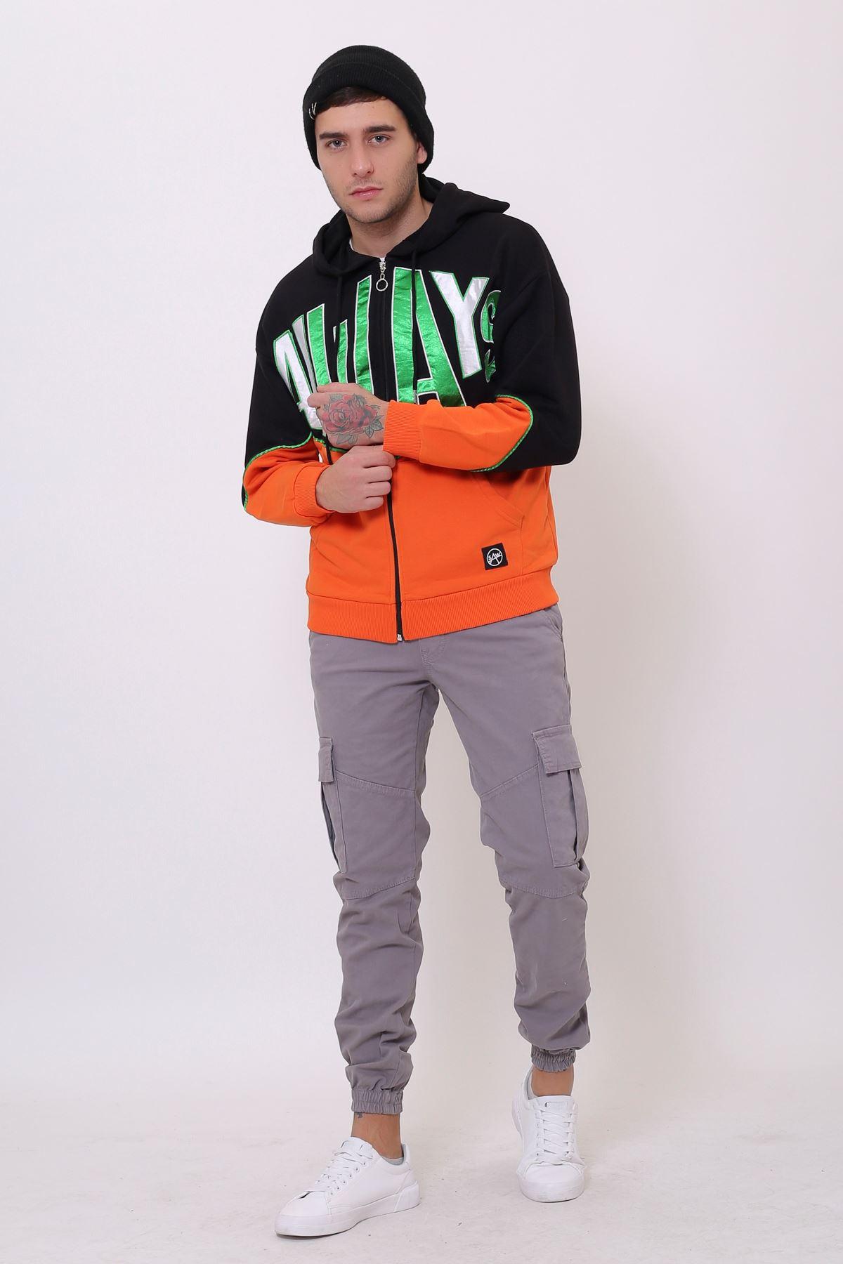 Siyah Erkek Nakışlı Fermuarlı Kapüşonlu Kanguru Cep Sweatshirt