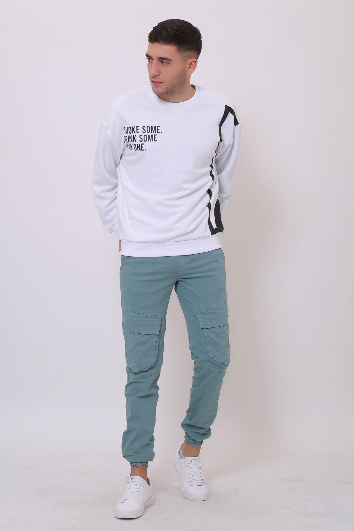 Beyaz Erkek Baskılı Bisiklet Yaka Sweatshirt