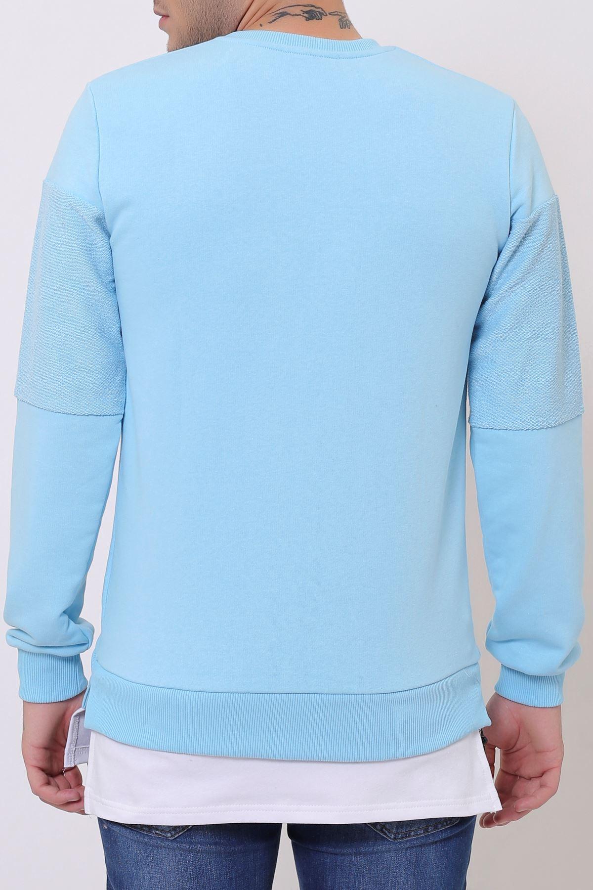 Mavi Erkek Spor Kesim Bisiklet Yaka Sweatshirt