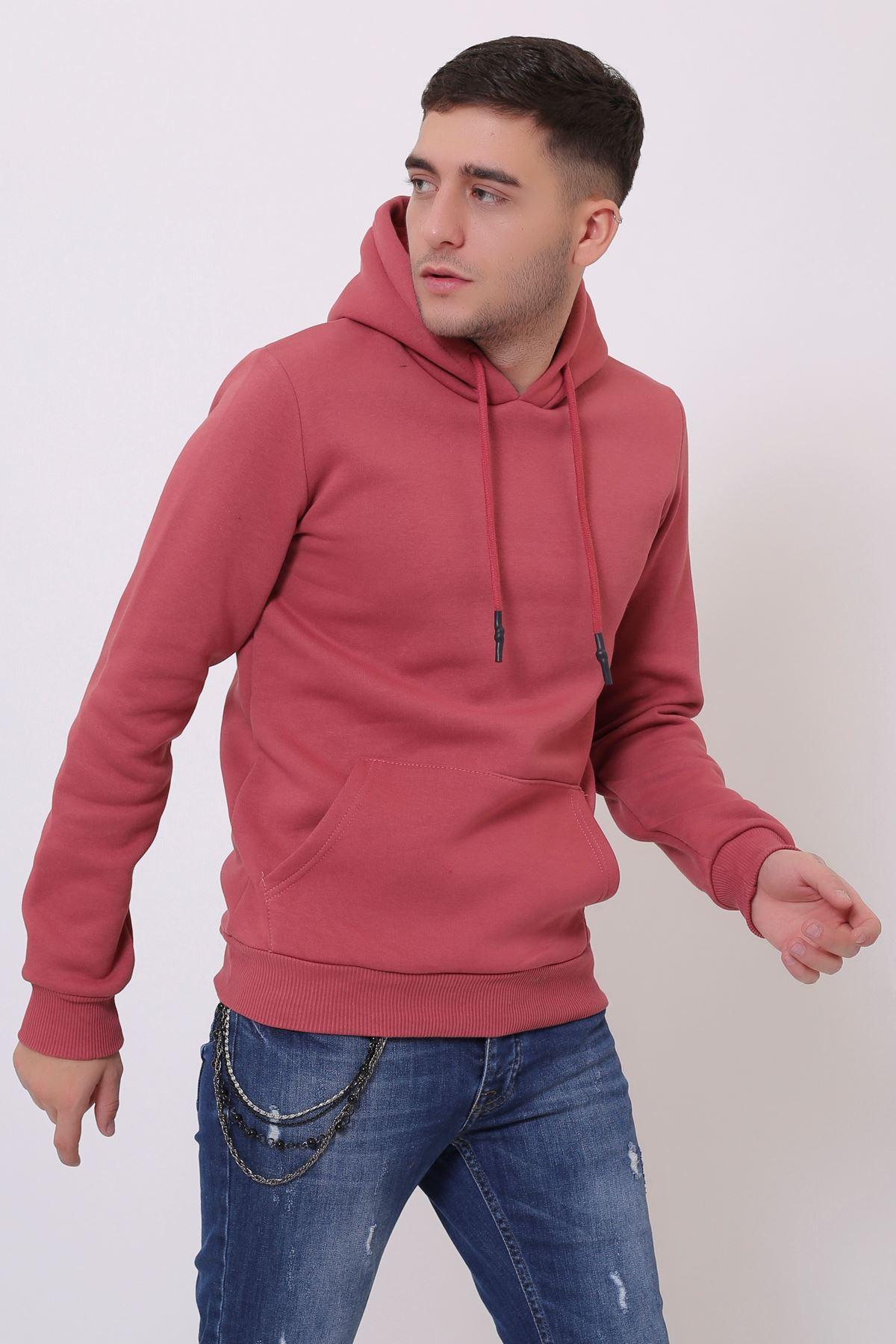 Gül Erkek Uzun Kollu Kapüşonlu Kanguru Cepli  Sweatshirt